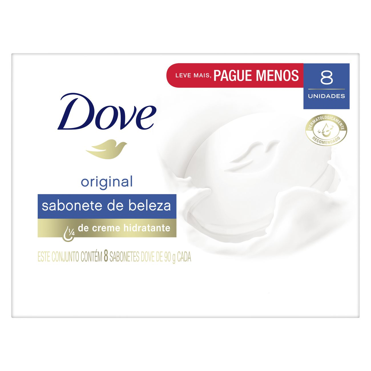 Oferta 8 Sabonetes Em Barra Dove Branco 90g