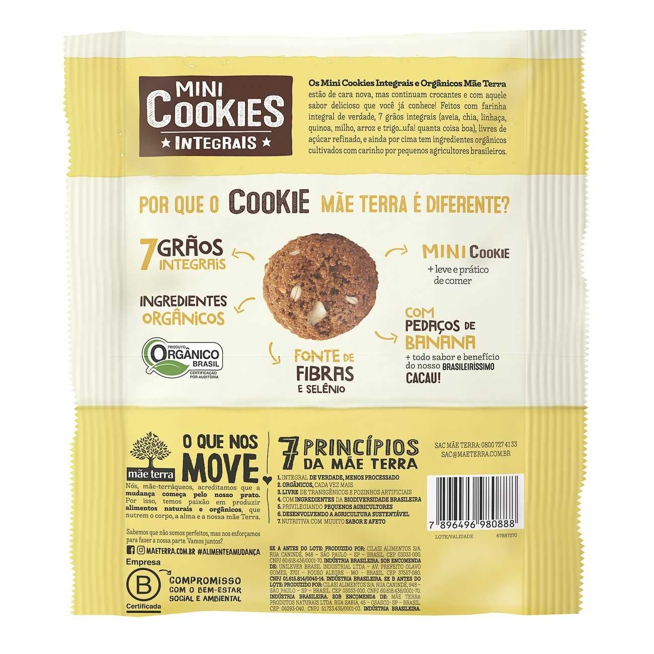 Cookie Integral Org�nico Banana e Cacau 120g