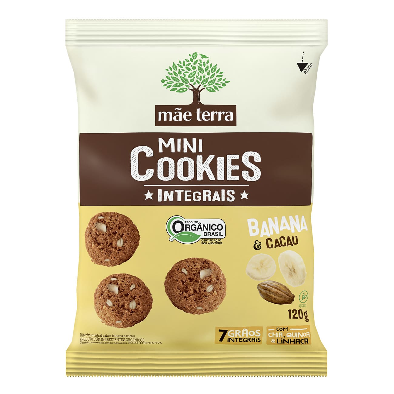 Cookie Integral Orgânico Mãe Terra Banana e Cacau 120g