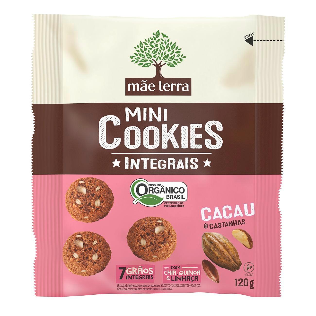 Cookie Integral Orgânico Mãe Terra Cacau e Castanhas 120g