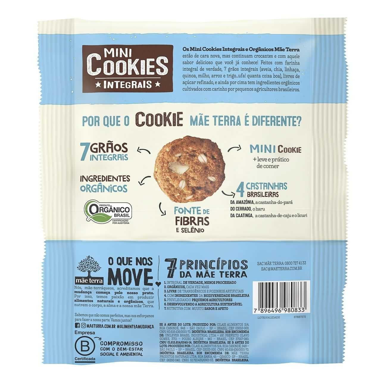 Cookie Integral Orgânico 4 Castanhas Brasileiras 120g