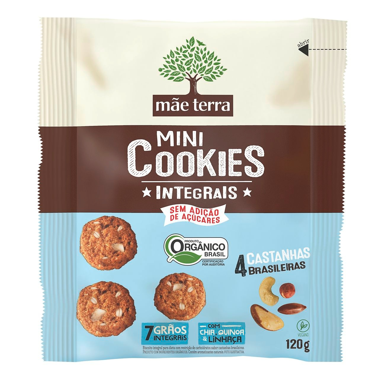 Cookie Integral Orgânico Diet 4 Castanhas Brasileiras 120g