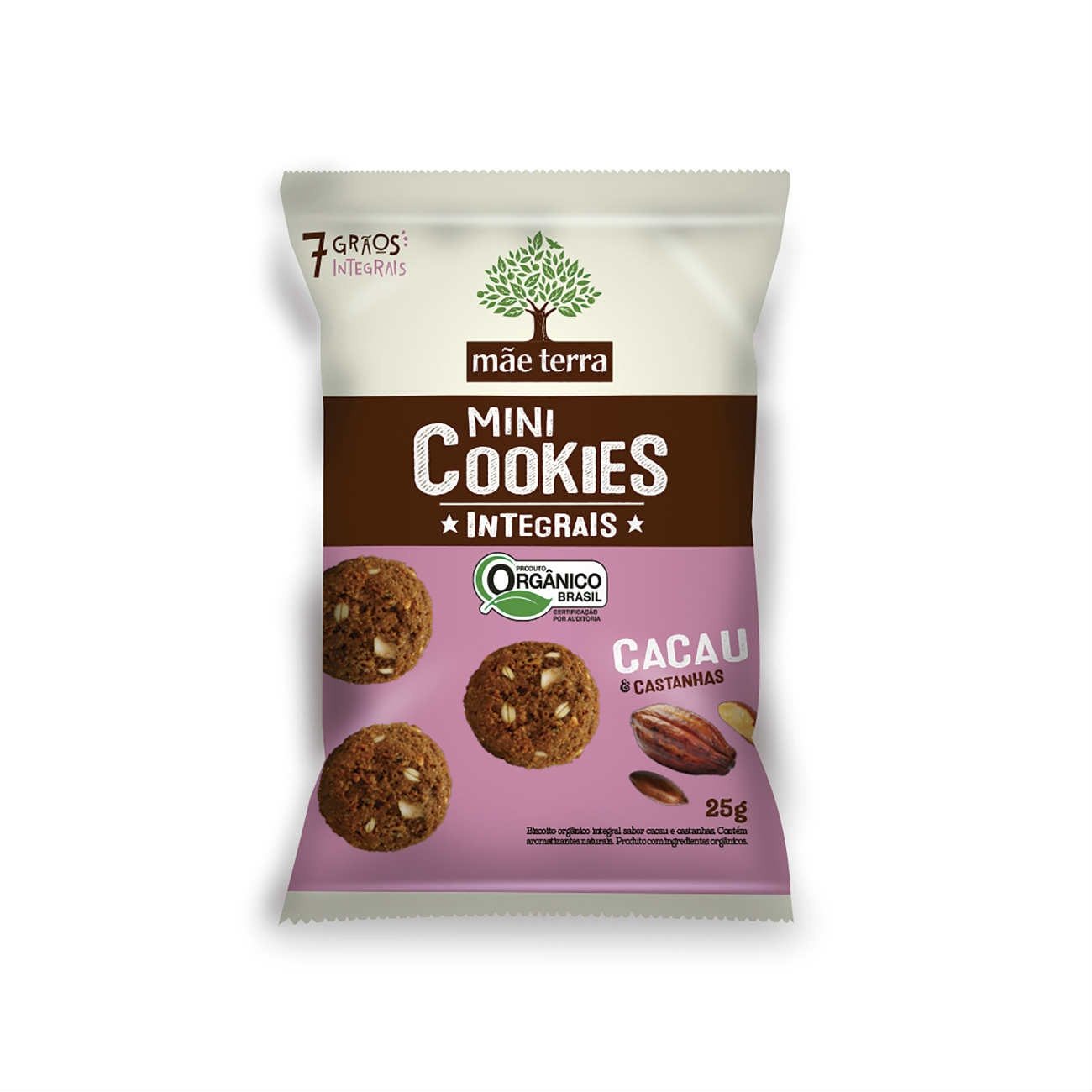 Cookie Integral Org�nico Cacau e Castanhas 25g | Display