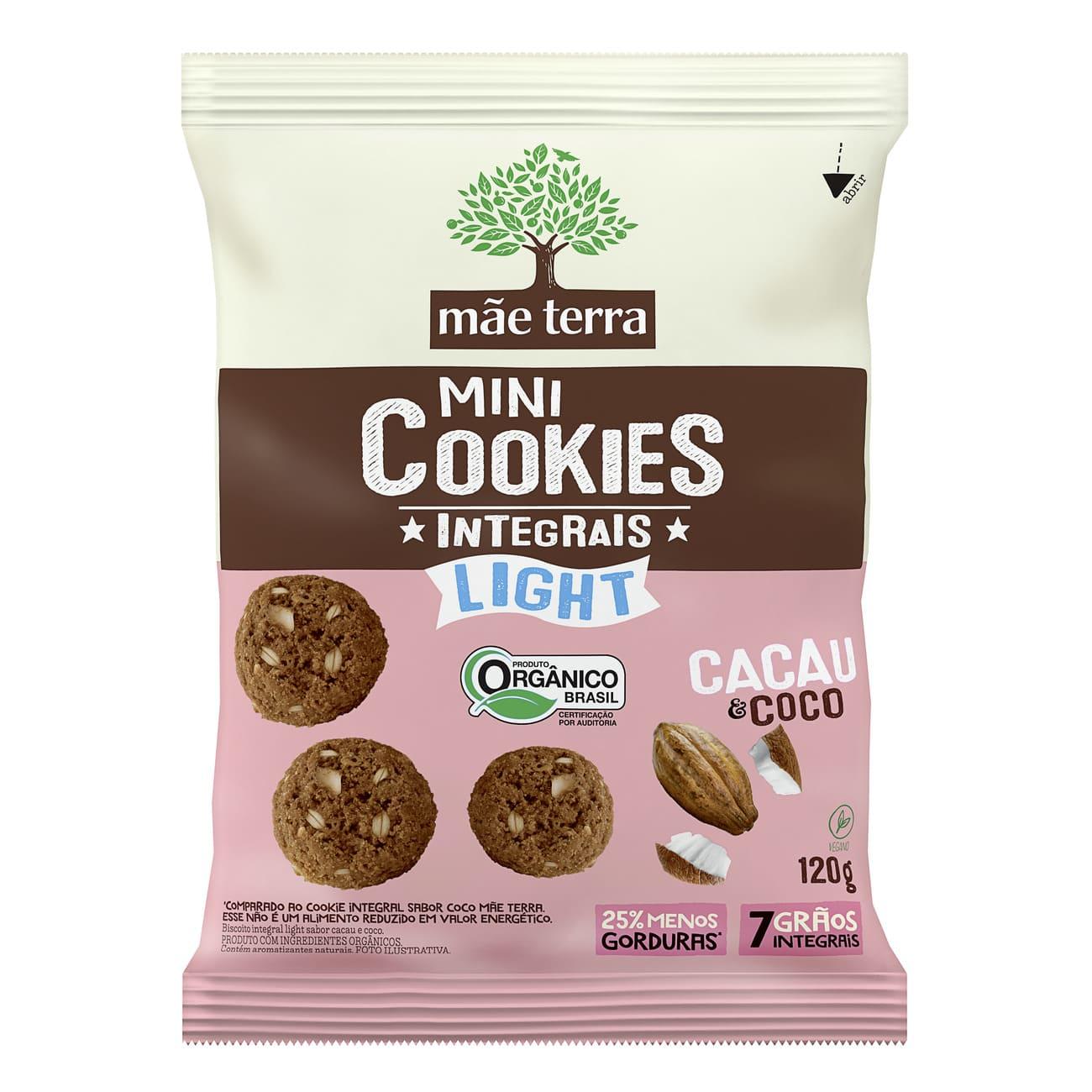 Cookie Integral Orgânico Mãe Terra Light Cacau e Coco 120g
