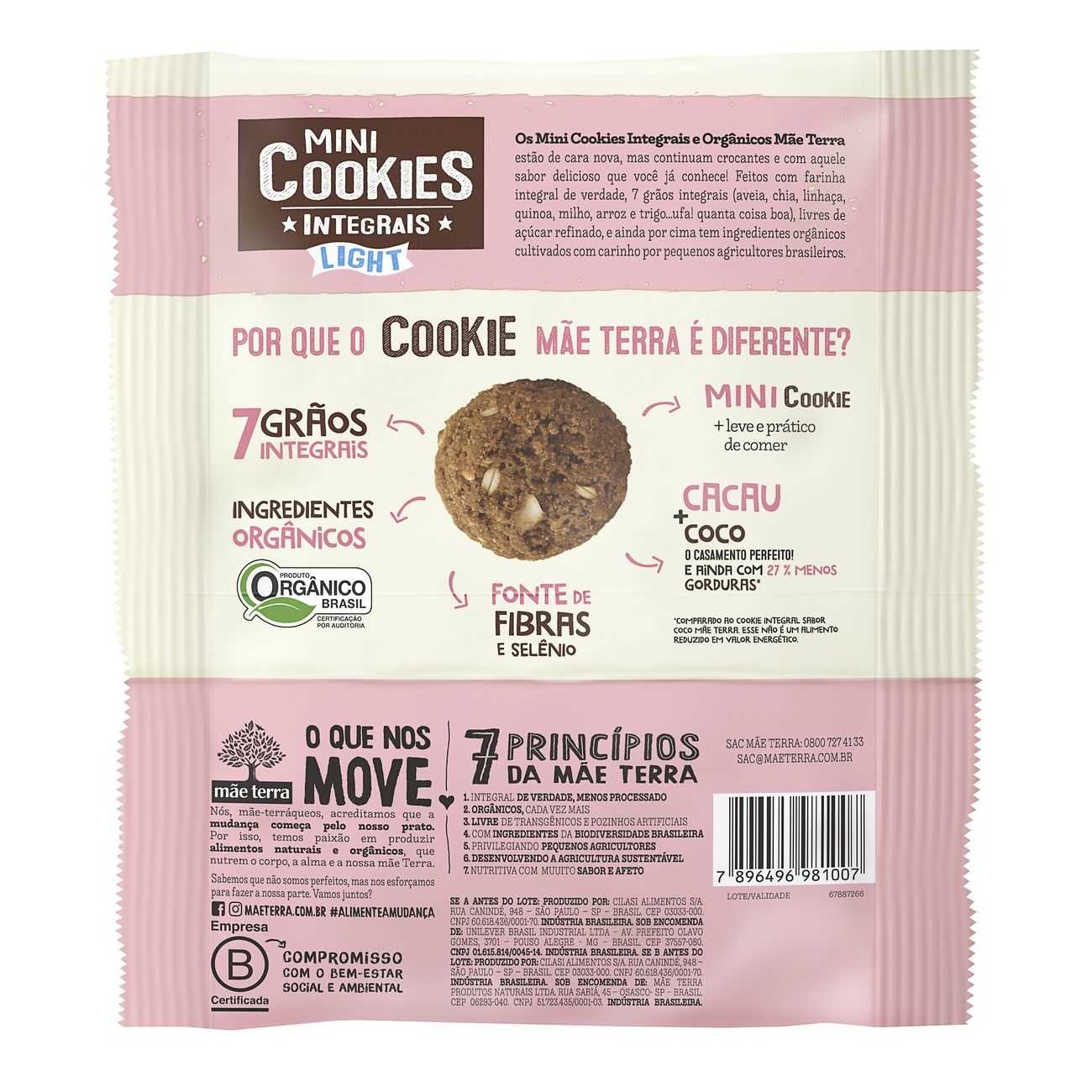 Cookie Integral Orgânico Light Cacau e Coco 120g