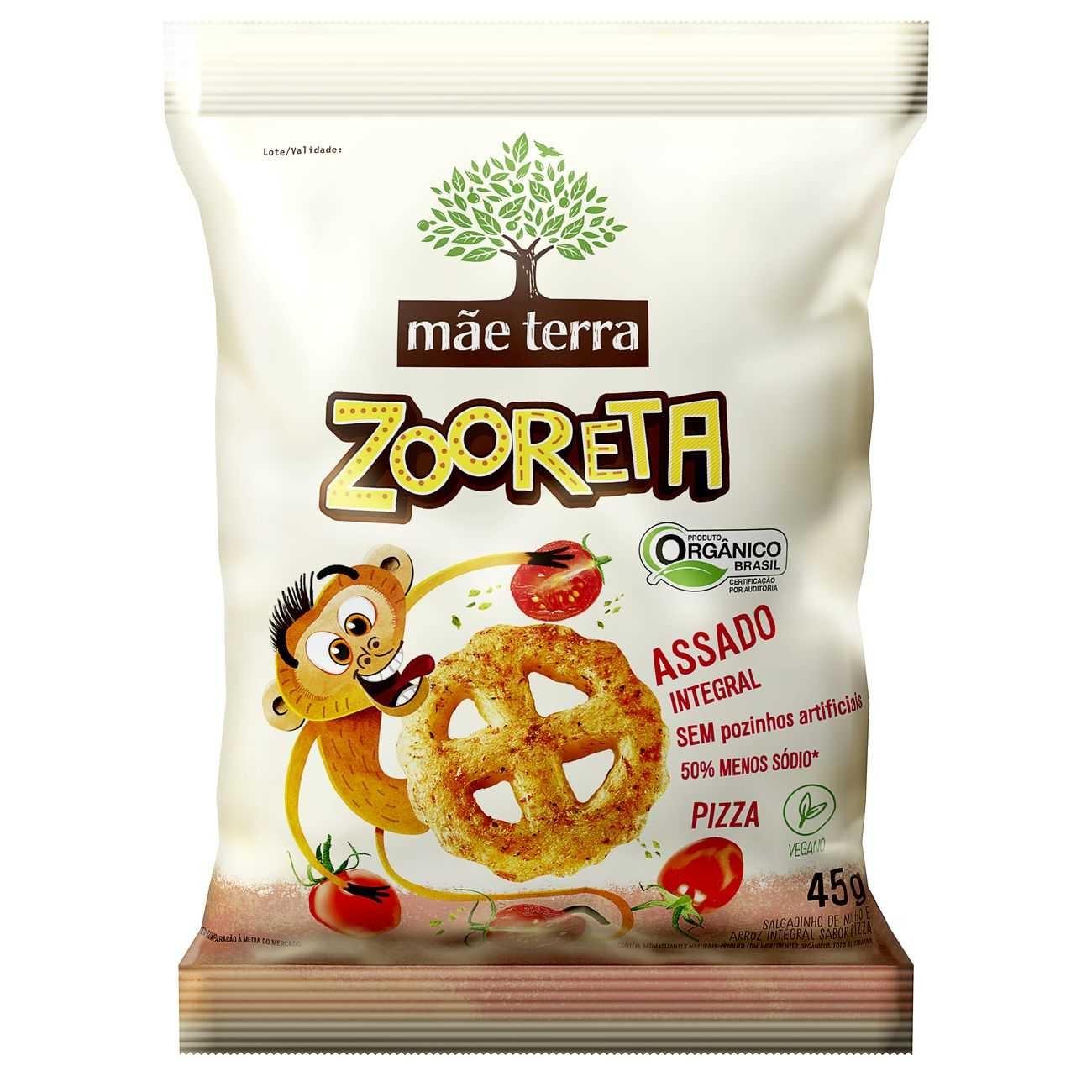 Salgadinho de Milho e Arroz Integral Orgânico Mãe Terra Zooreta Pizza 45g
