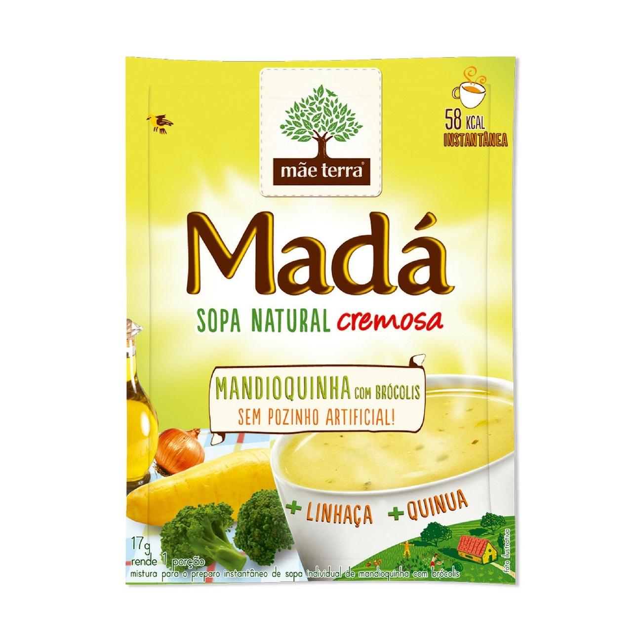 Sopa instantânea Natural Madá Mandioquinha com Brócolis 17g | Display