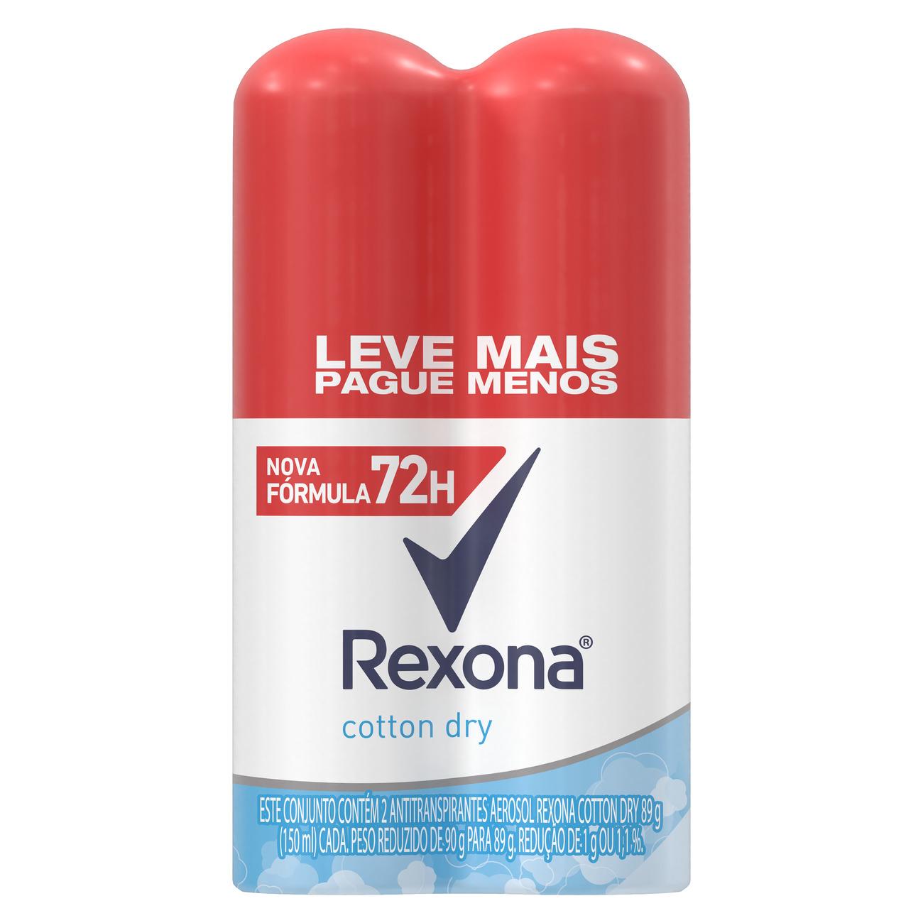 Oferta 2 Desodorantes Antitranspirantes Rexona Cotton Dry 72 horas 150mL