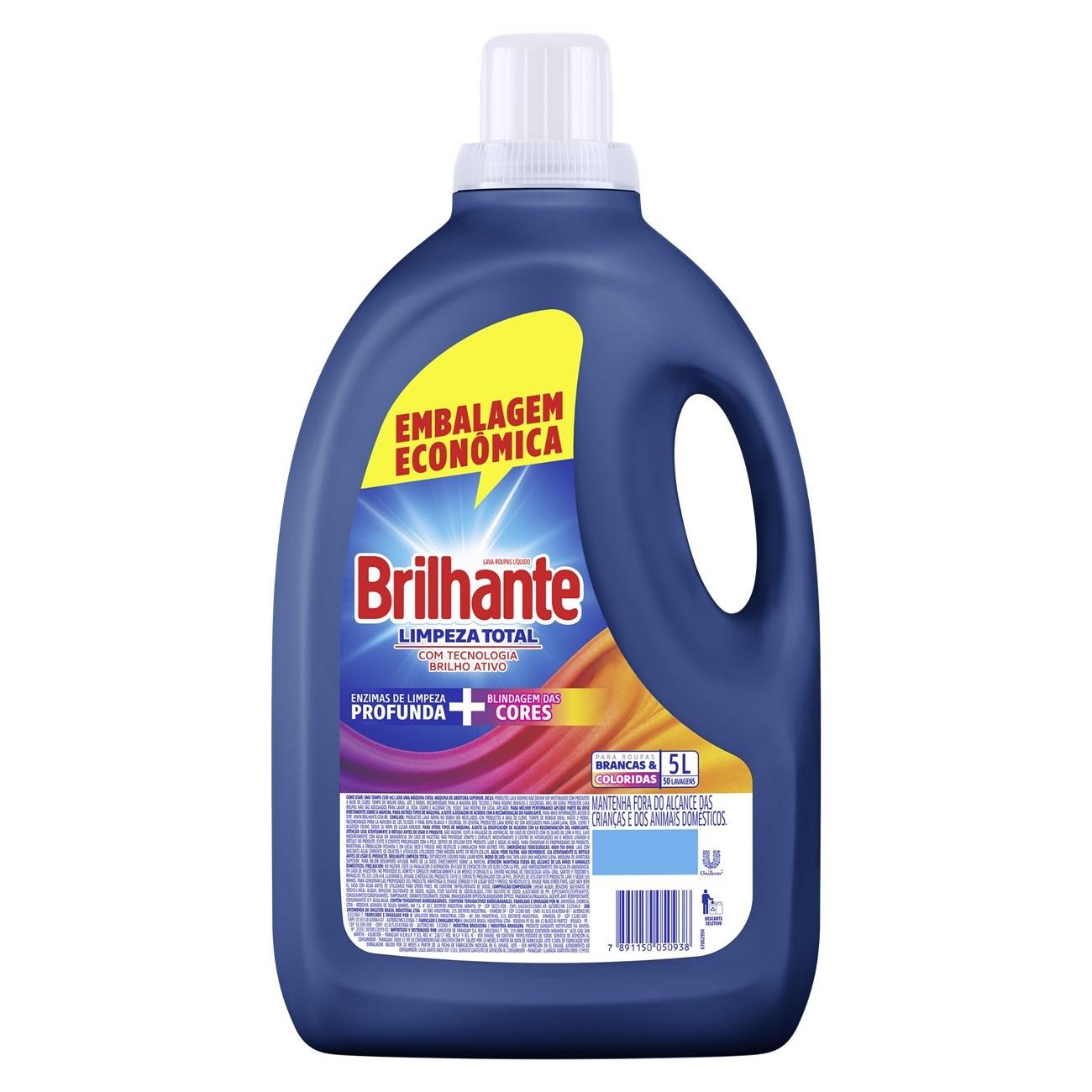 Lava Roupas L�quido Brilhante Limpeza Total 5L