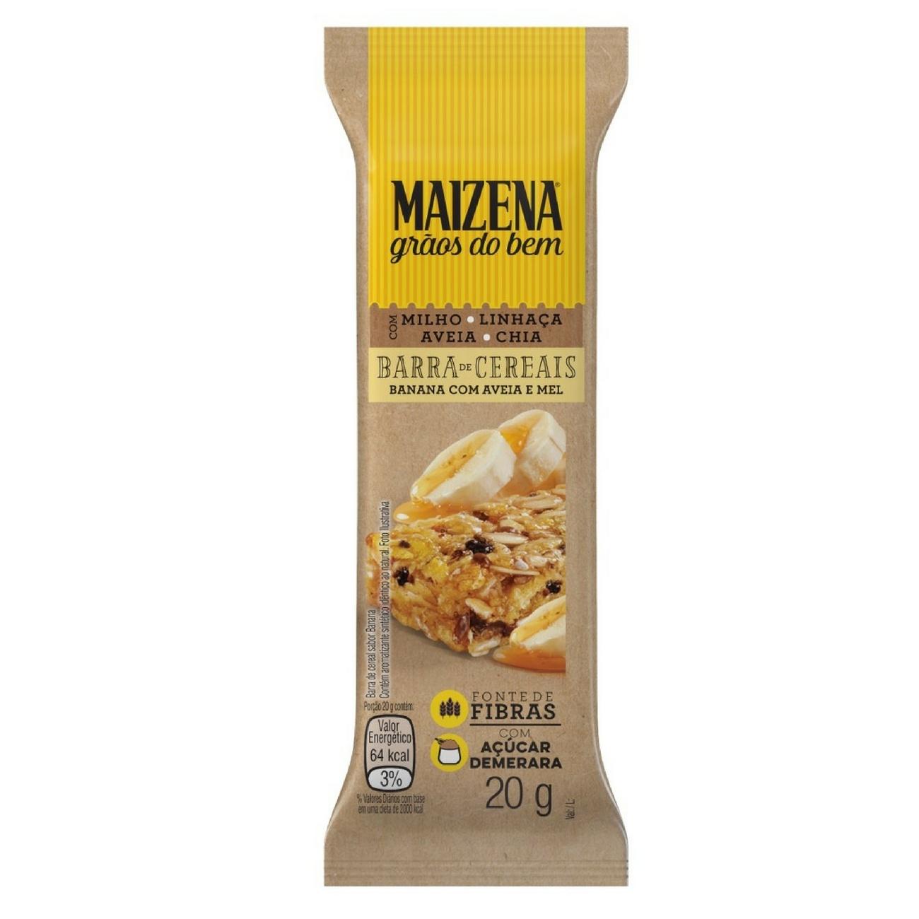 Barra de Cereais Maizena Grãos do Bem Banana com Aveia e Mel 20g | Caixa com 1
