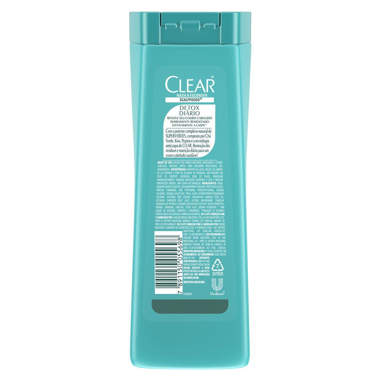 Shampoo Anticaspa Clear Detox Di�rio 200ml