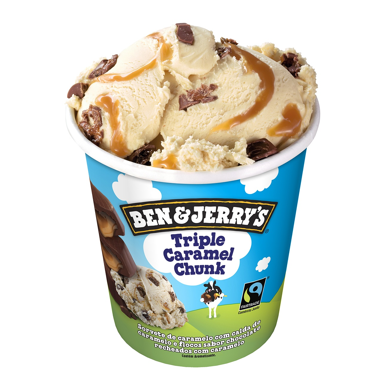 Sorvete Ben&Jerry's Triple Caramel Chunk 458ML | Caixa com 8