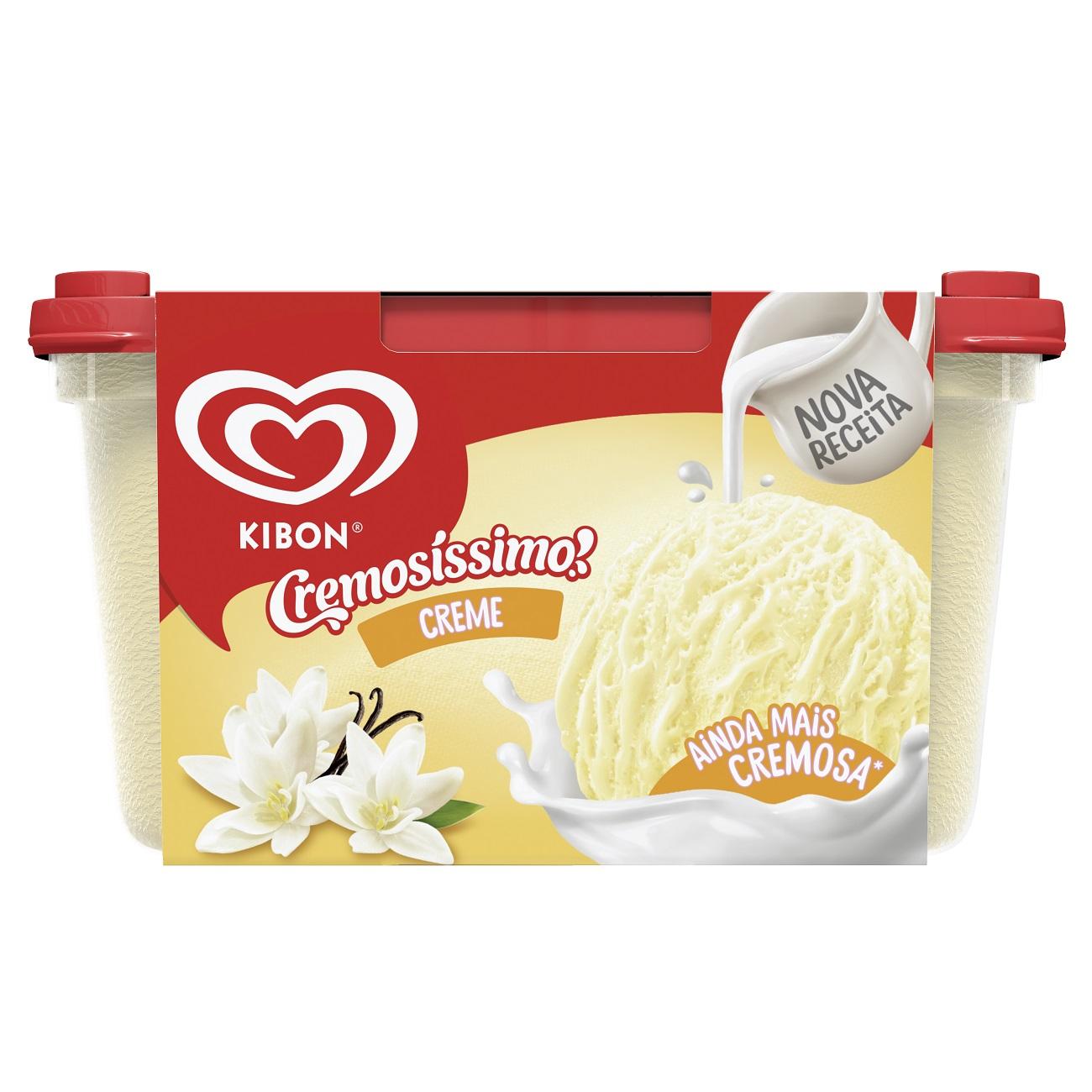 Sorvete Kibon Cremosissimo Creme 1.5L   Caixa com 4