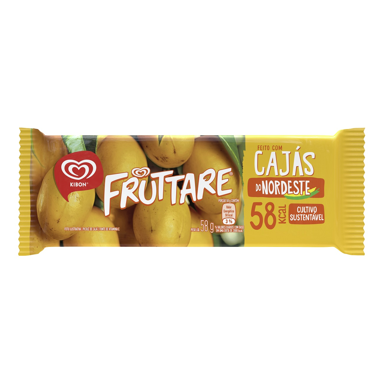 Sorvete Kibon Fruttare Palito Caja 60ML | Caixa com 28