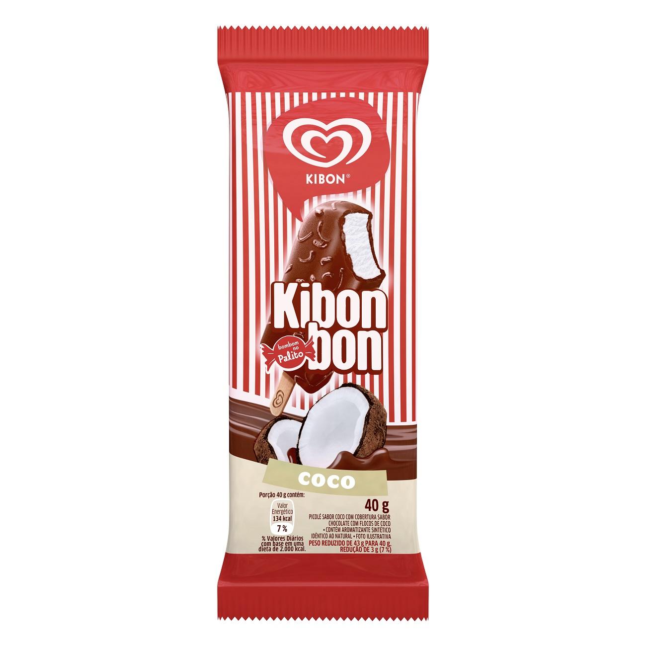 Sorvete Kibon Palito Kibonbon Coco 71ML | Caixa com 24