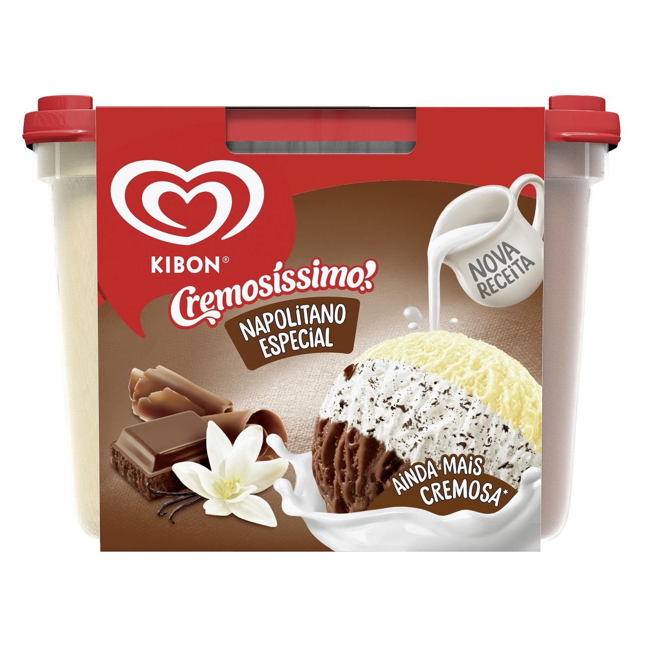 Sorvete Pote Kibon Cremosíssimo Trisabor Creme/Chocolate/Flocos 2L | Caixa com 4