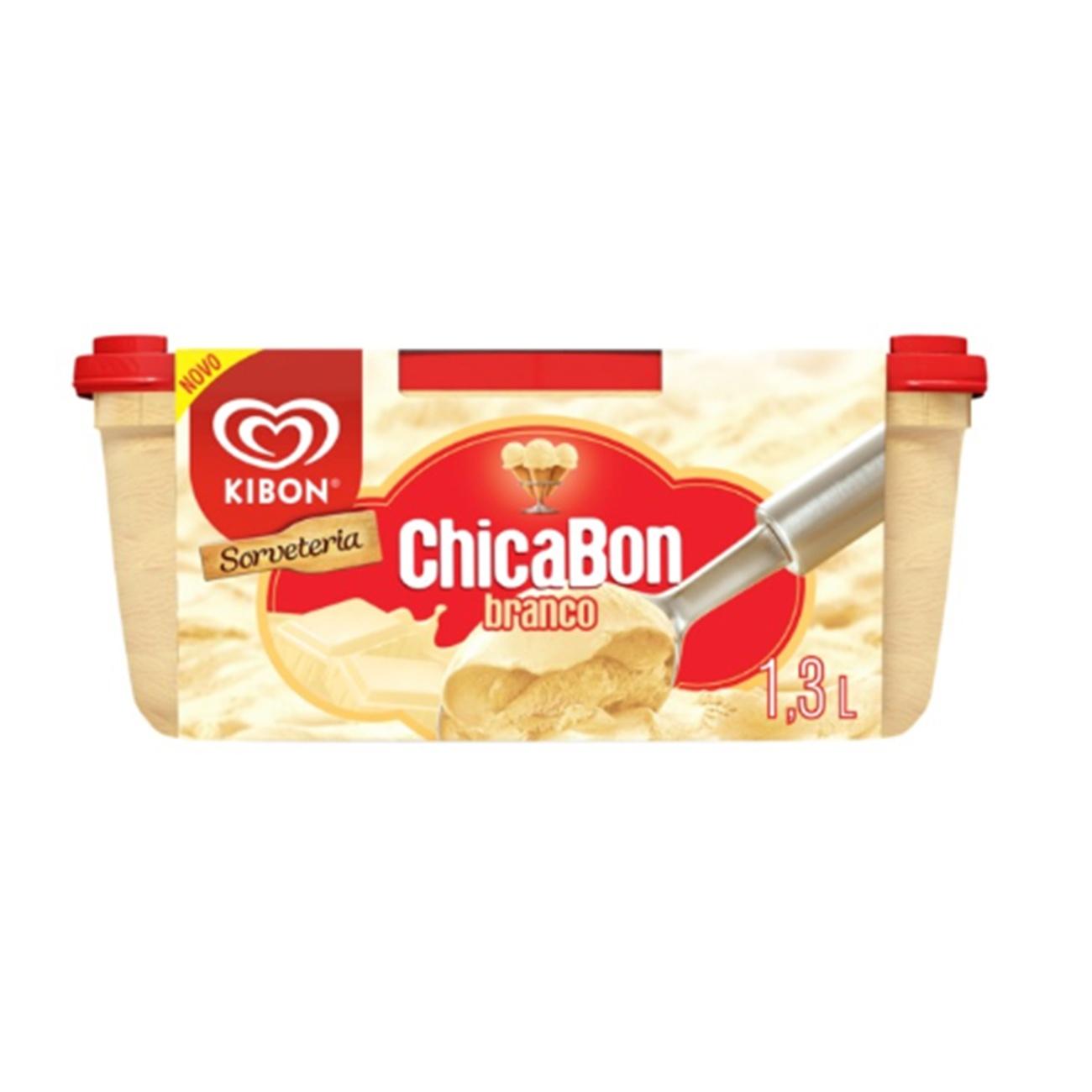 Sorvete Kibon Sorveteria Chicabon Branco 1.3L | Caixa com 4