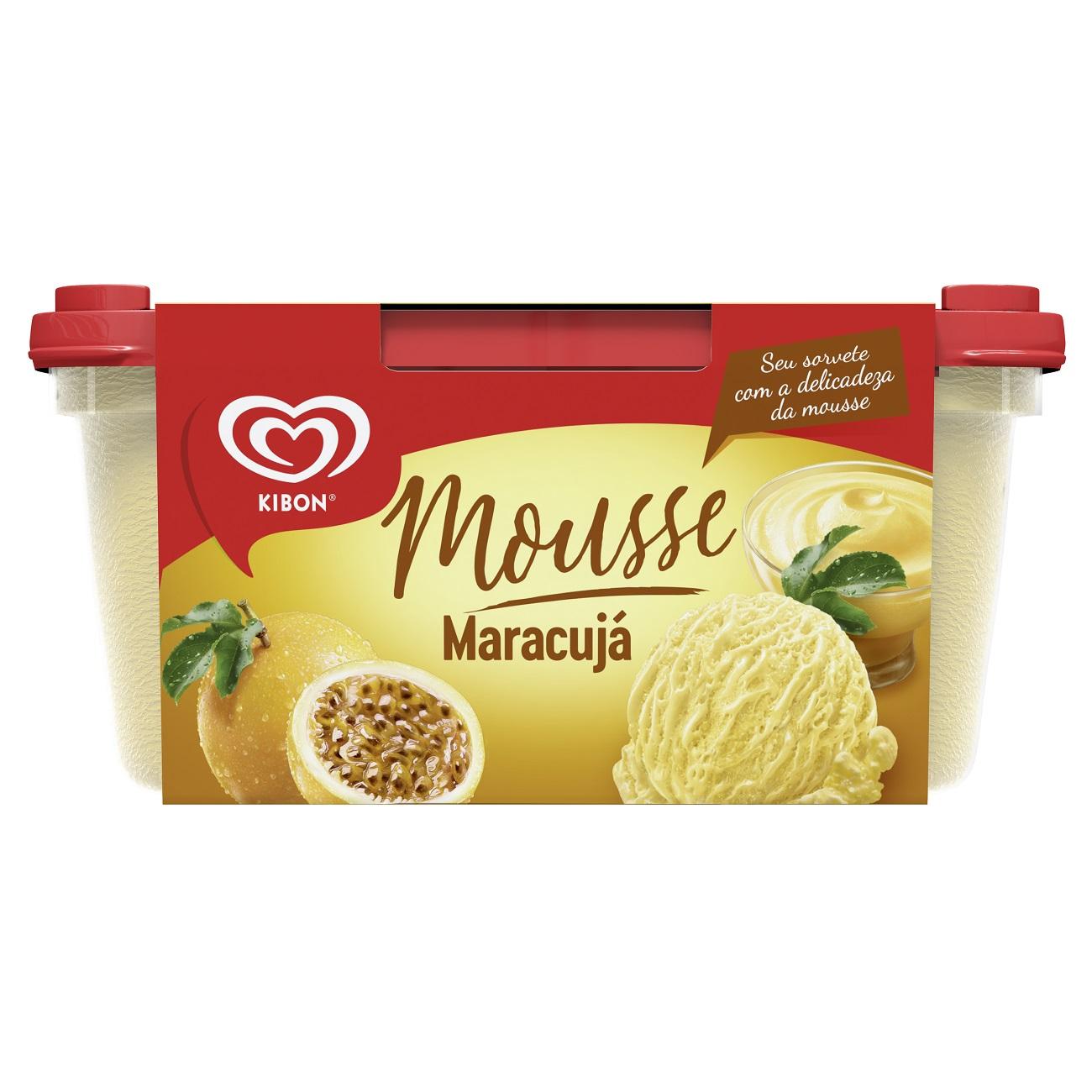 Sorvete Kibon Mousse Maracuja 1,3L | Caixa Com 4