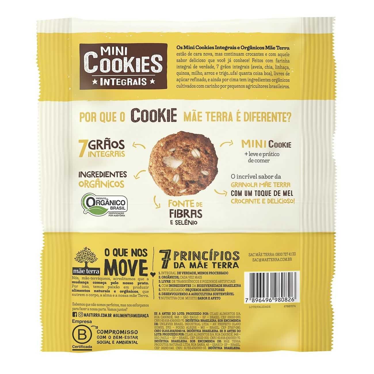 Cookies Org�nicos M�e Terra Diet Granola e Mel 120g