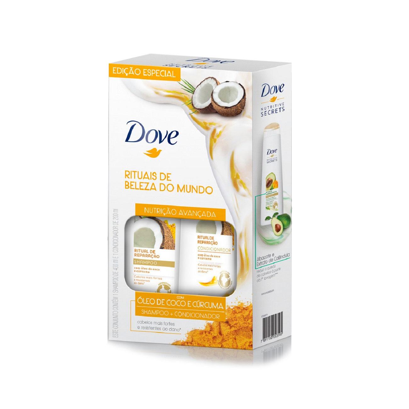 Oferta Shampoo 400ml + Condicionador 200ml Dove Ritual de Reparação