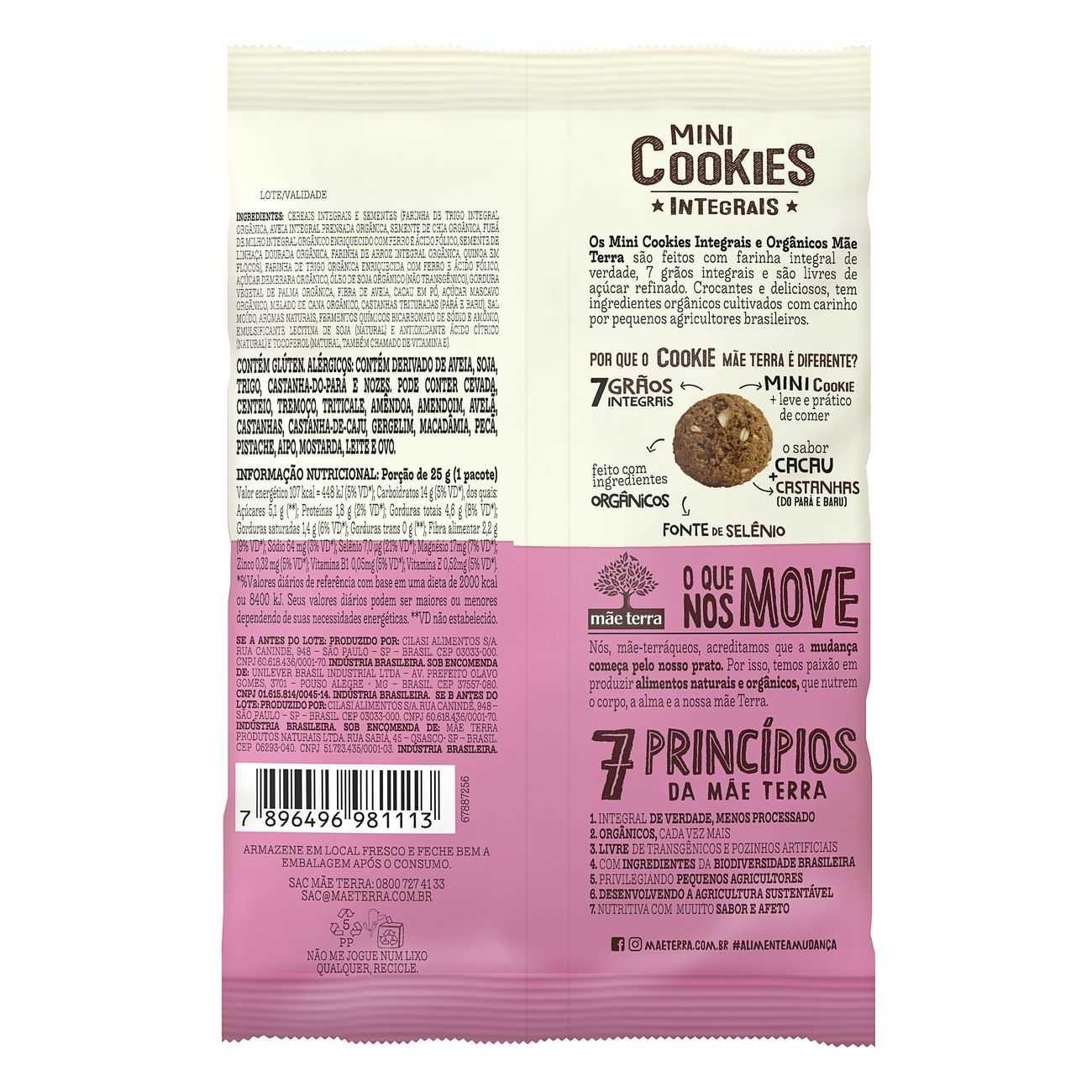 Cookie Integral Org�nico Cacau e Castanhas 25g