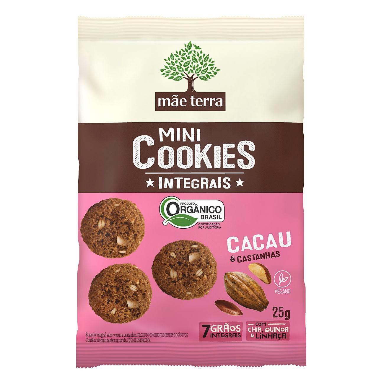 Cookie Integral Orgânico Mãe Terra Cacau e Castanhas 25g