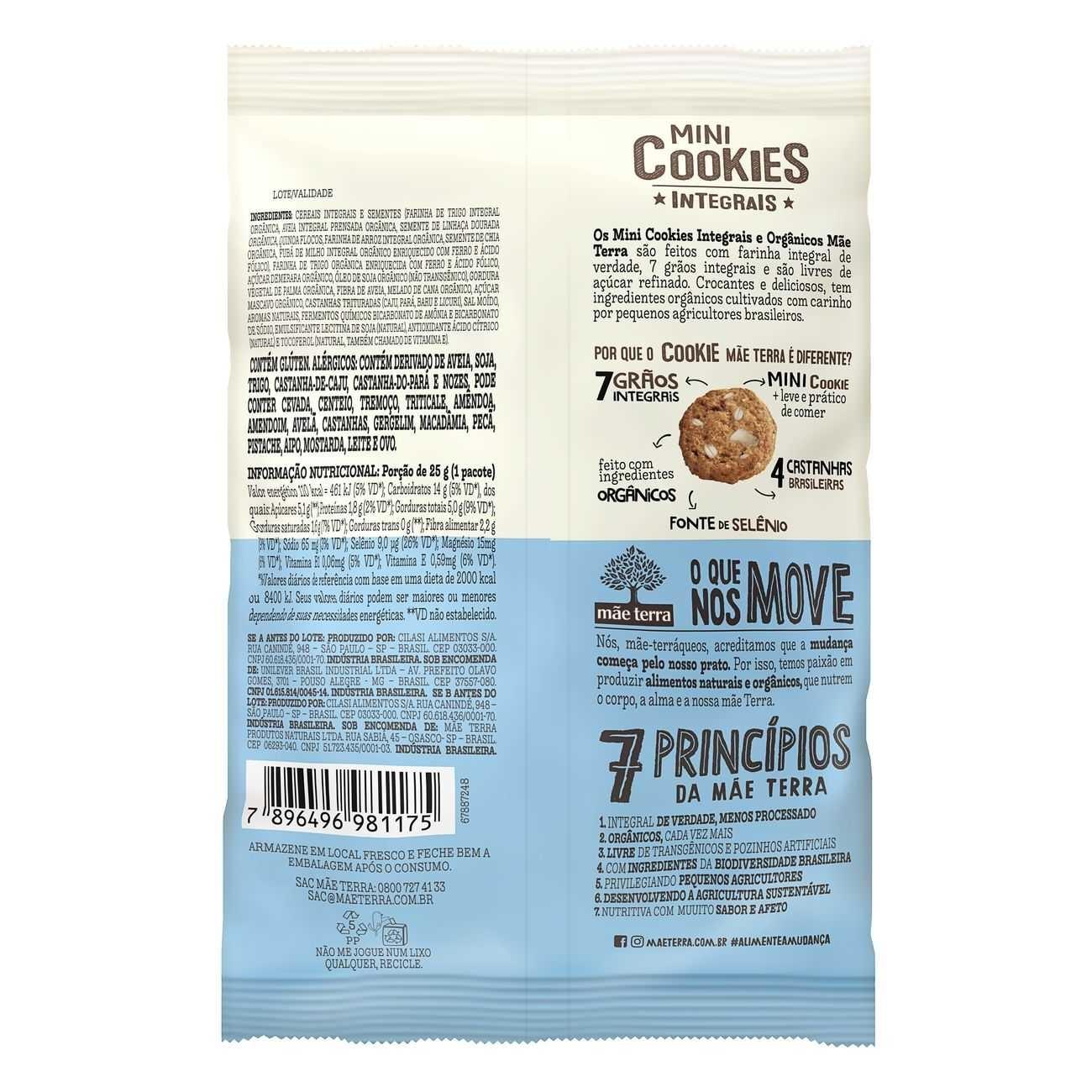 Cookies Orgânicos Mãe Terra 4 Castanhas 25g