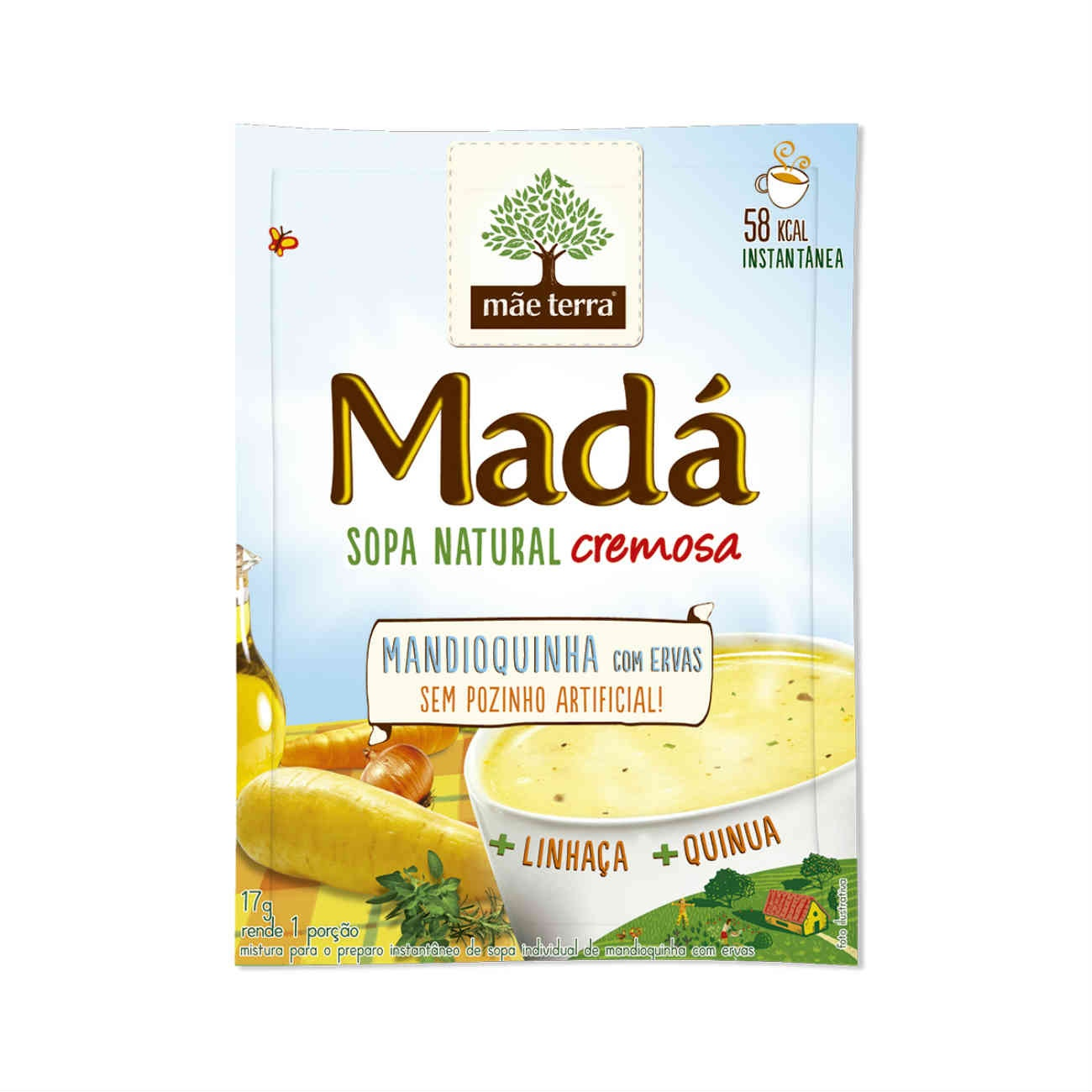 Sopa instant�nea Natural M�e Terra Mad� Mandioquinha com Ervas 17g | Display