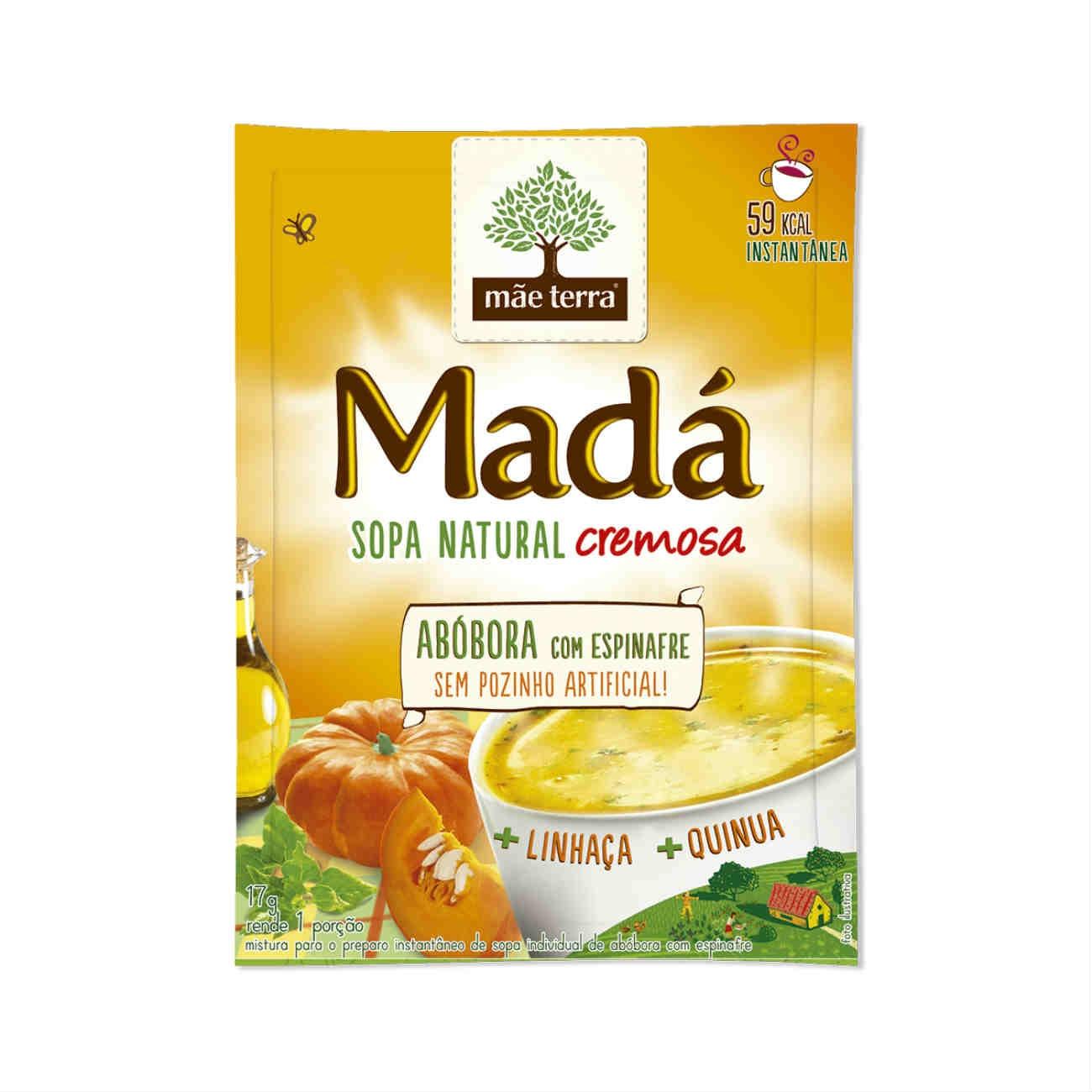 Sopa instantânea Natural Mãe Terra Madá Abóbara com Espinafre 17g | Display