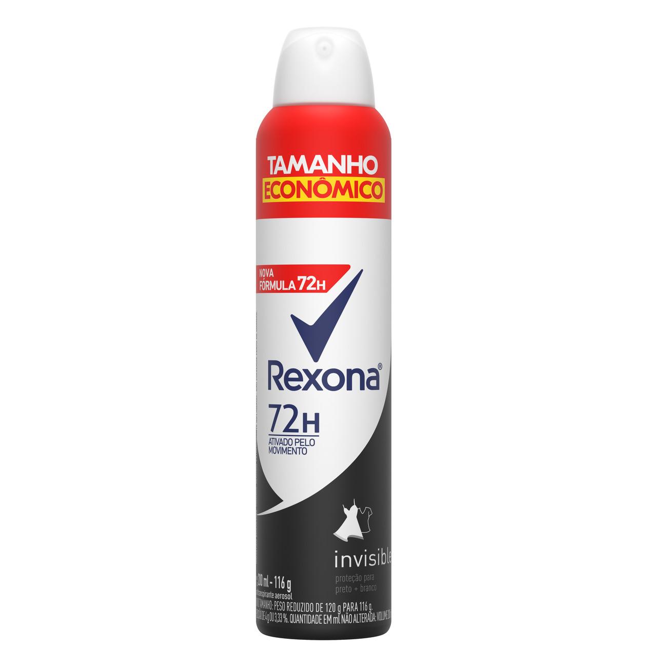Desodorante Antitranspirante Aerosol Rexona Feminino Invisible 72 horas 200mL