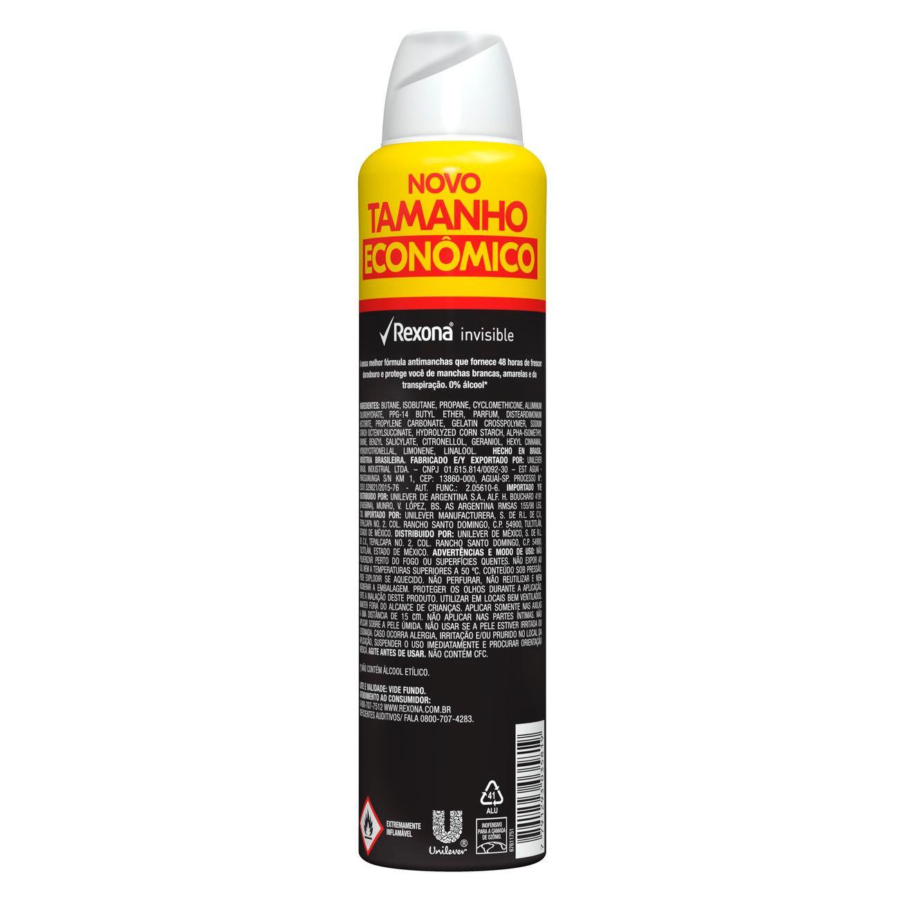 Desodorante Antitranspirante Aerosol Rexona Feminino Invisible 200ml | Caixa com 1