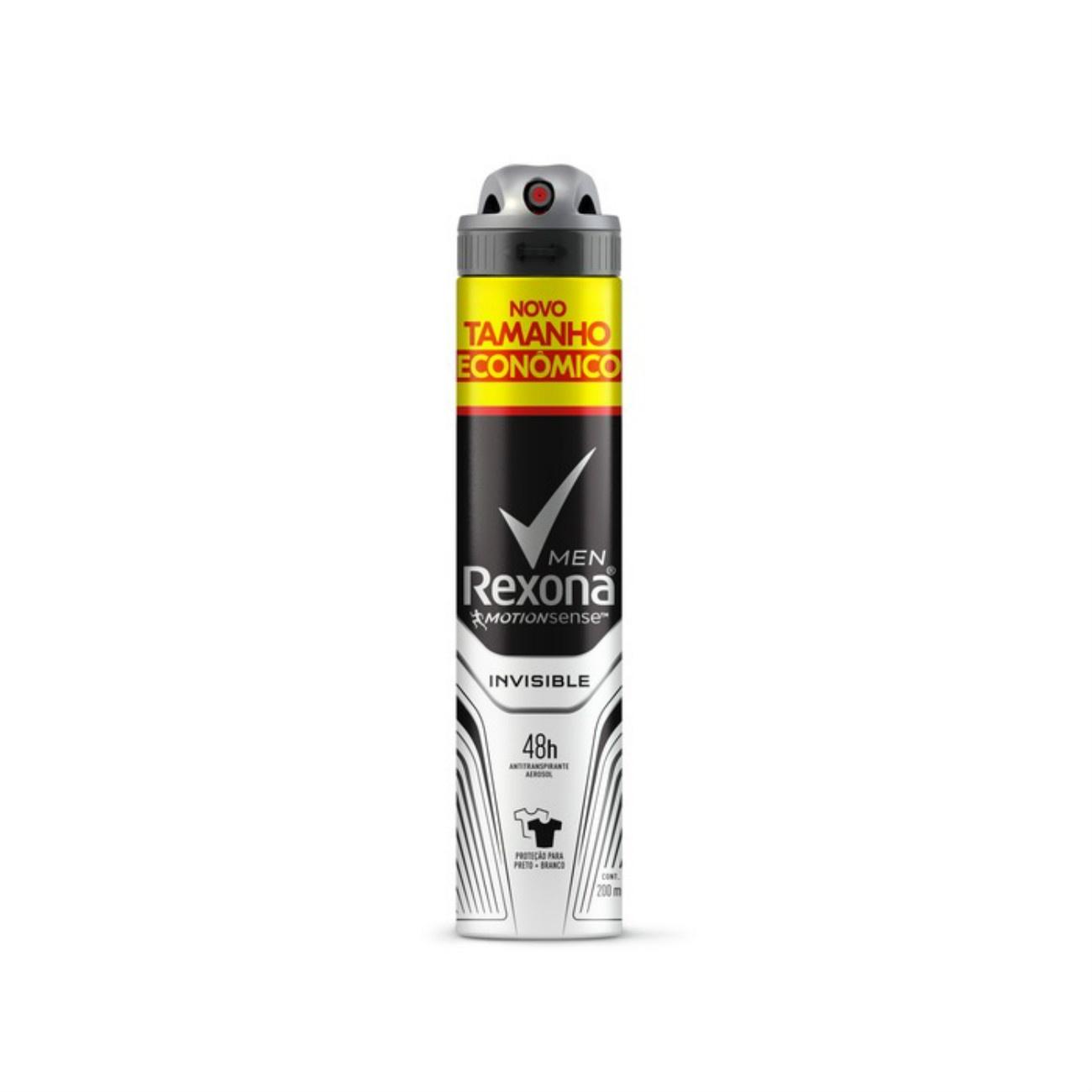 Desodorante Antitranspirante Aerosol Rexona Men Invisible Dry 200ml