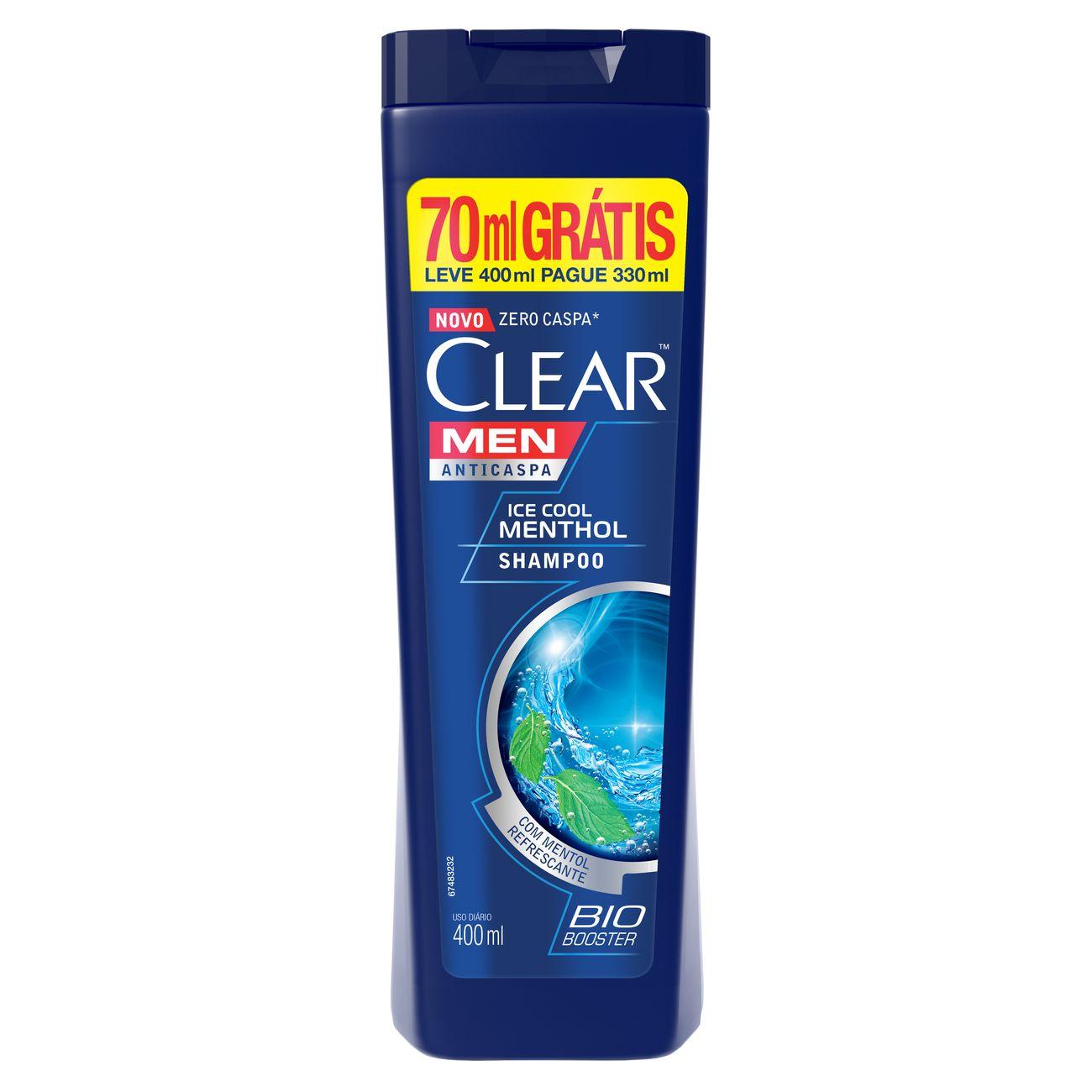 Oferta Shampoo Anticaspa Clear IceCool Menthol Pague 330ml Leve 400ml