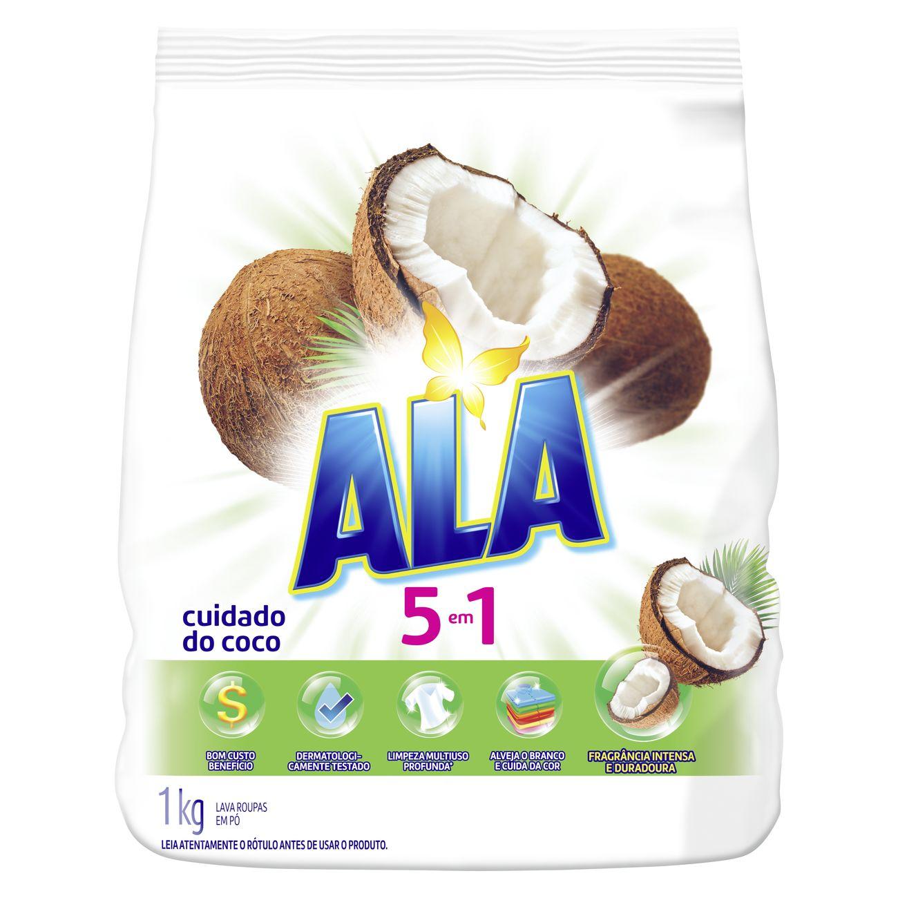 Lava-Roupa em Pó ALA 5 em 1 Cuidado do Coco 1KG