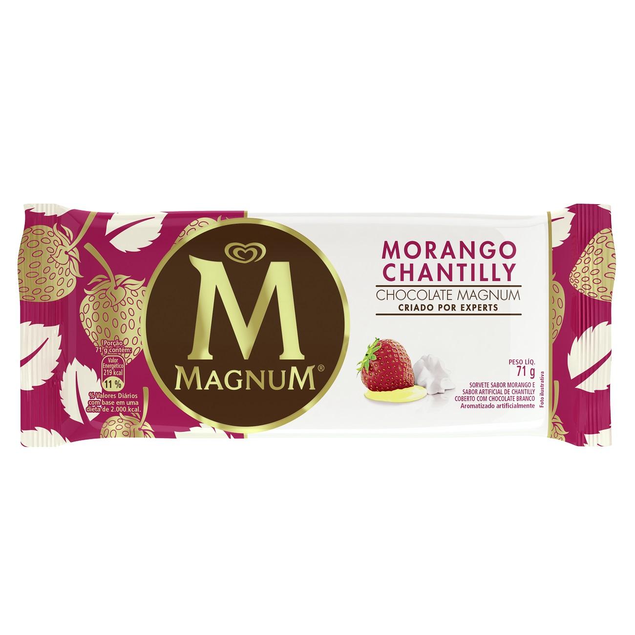 Sorvete Kibon Magnum Morango Chantilly 90ML l Caixa com 18