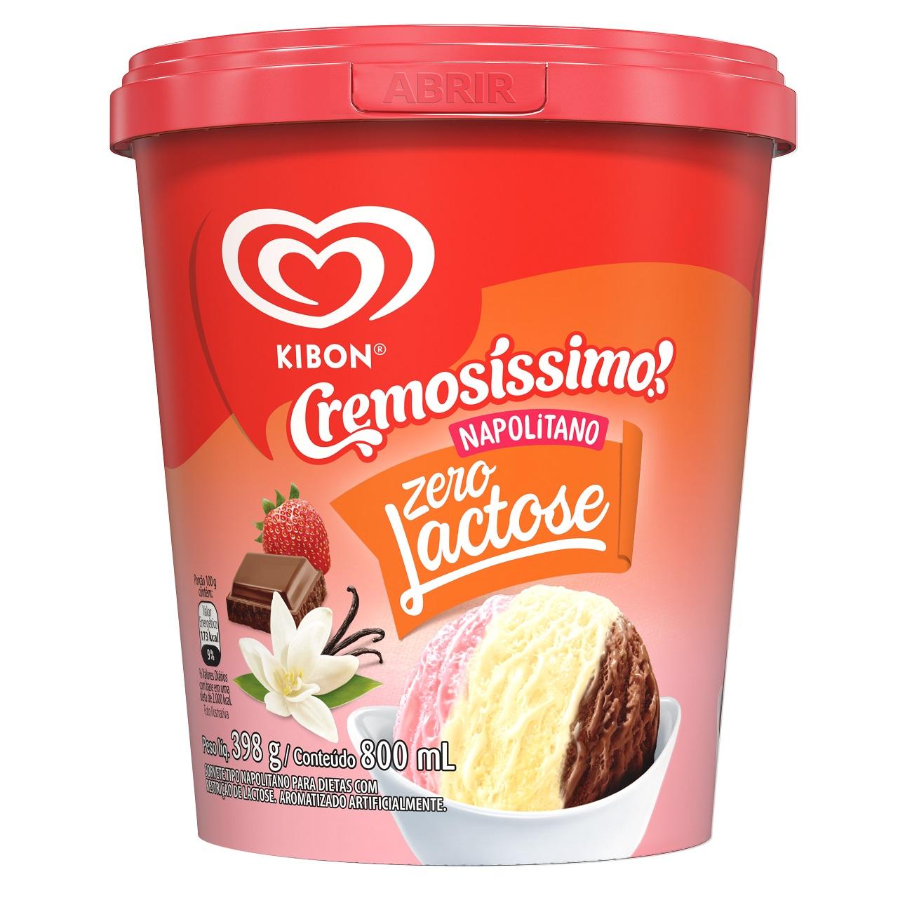 Sorvete Kibon Pote Zero Lactose Cremosíssimo Napolitano 800ML l Caixa com 4