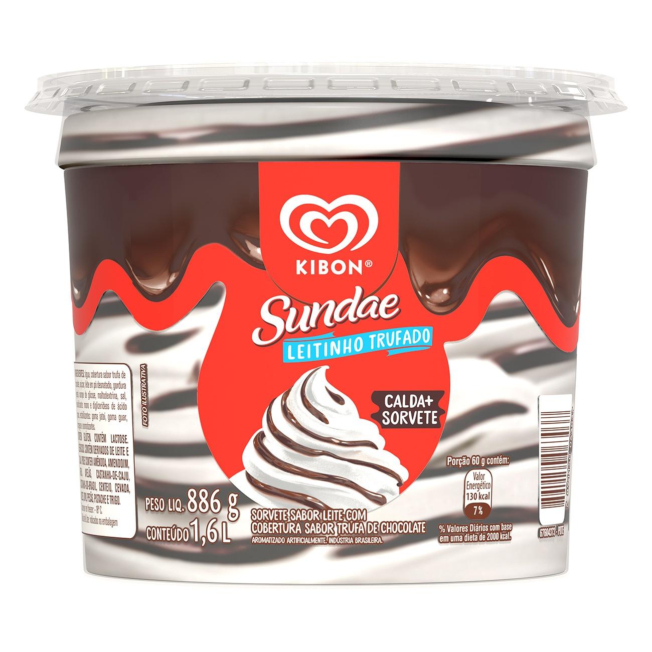 Sorvete Kibon Sundae Leite Trufado 1.6L l Caixa com 4