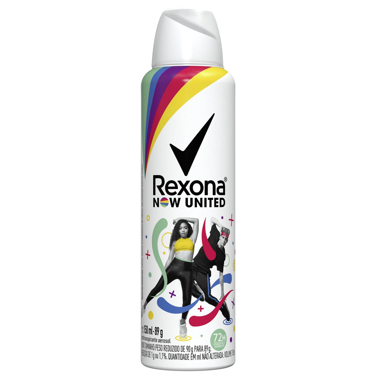 Desodorante Aerosol Rexona Now United 72 Horas 150mL