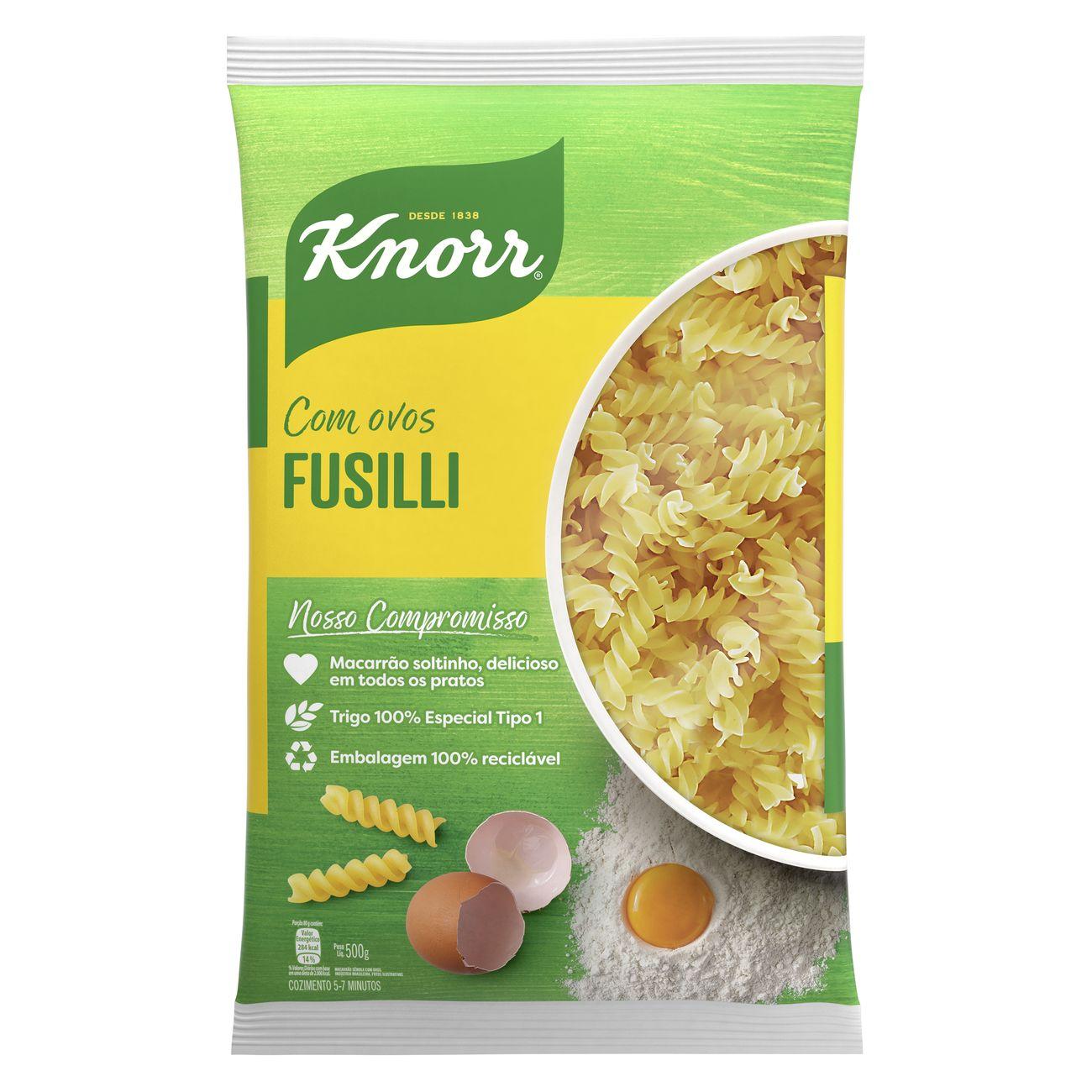 Macarrão Fusilli Knorr Sêmola Com Ovos 500g