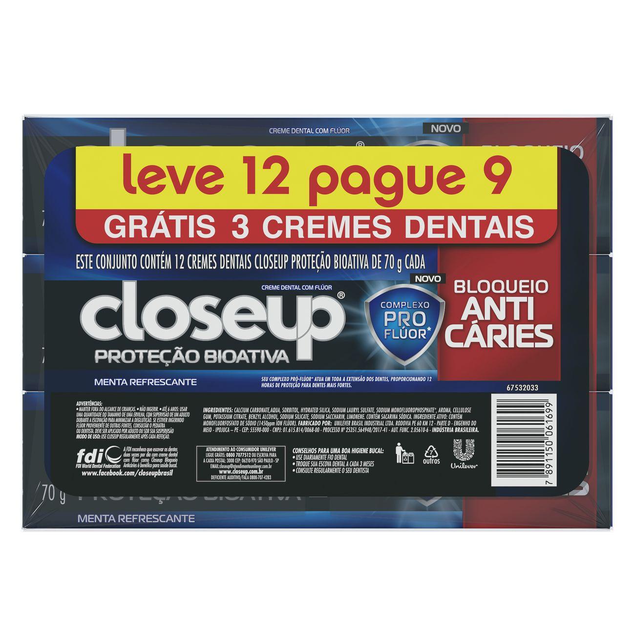 Oferta Creme Dental CloseUp Proteção Bioativa Anticarie 70g Leve 12 Pague 9