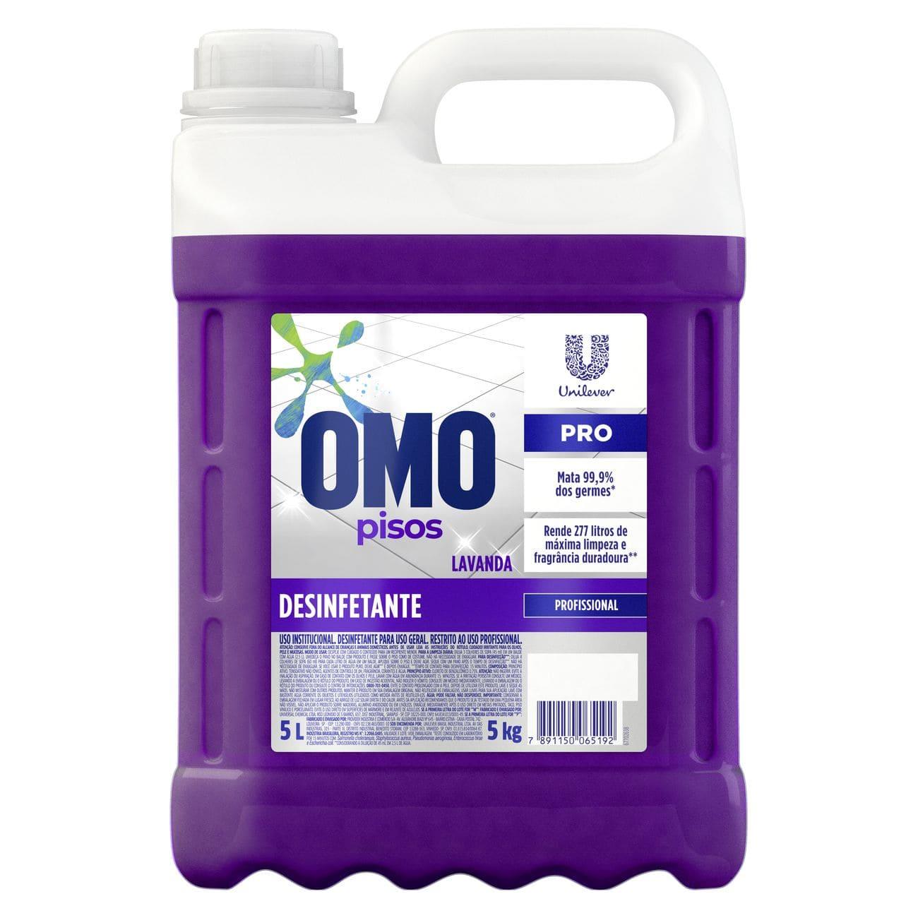 Limpador de Piso Desinfetante Omo Uso Profissional Lavanda 5L