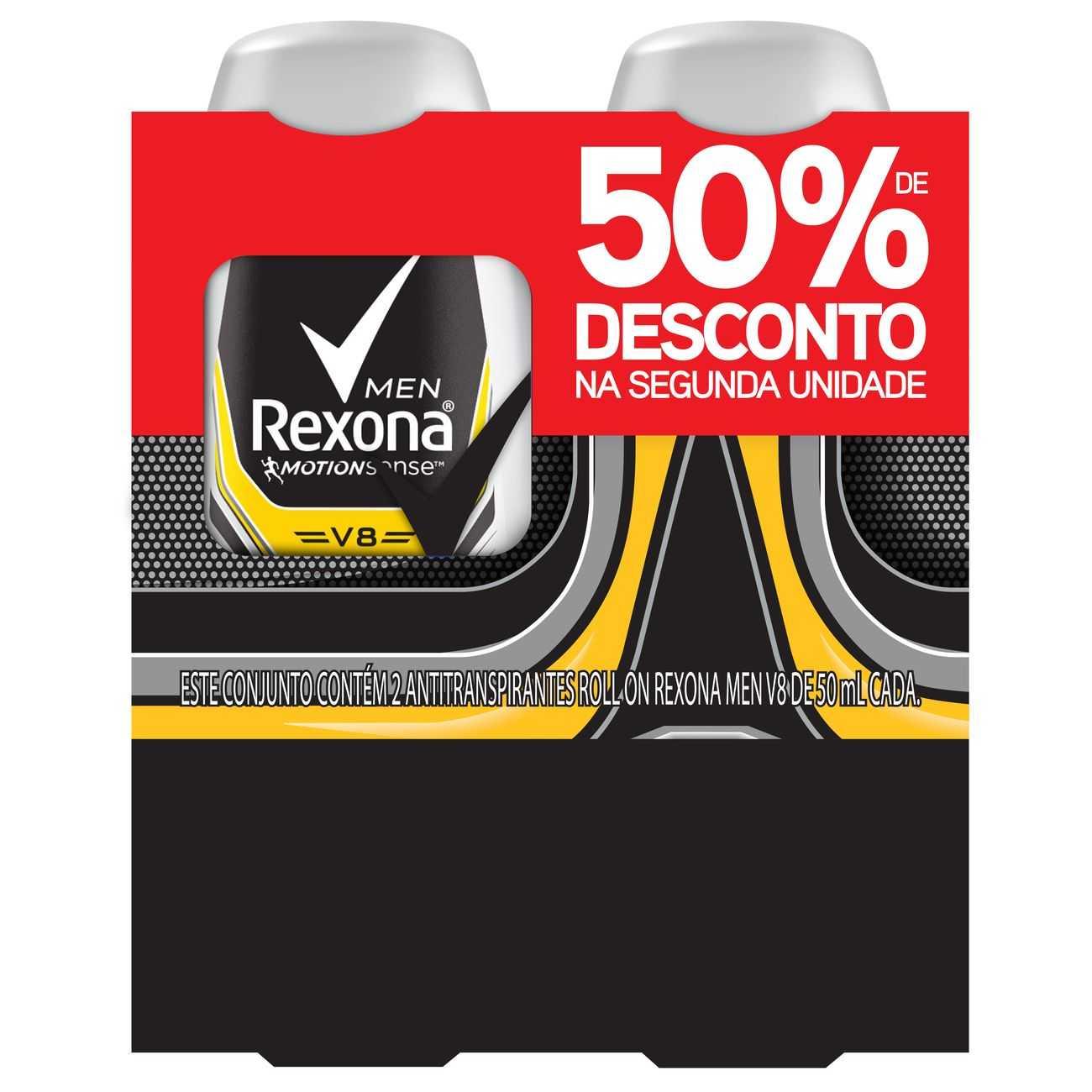 Desodorante Roll-On Rexona V8 2 x 50ml