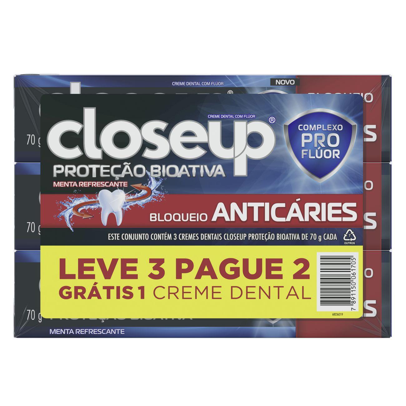 Oferta Creme Dental Close Up Proteção Bioativa Bloqueio Anticáries 70g