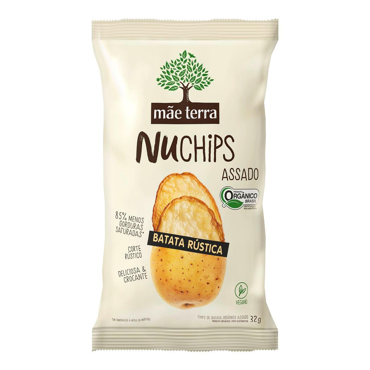 Chips Orgânico Mãe Terra Batata Rústica NuChips 32g