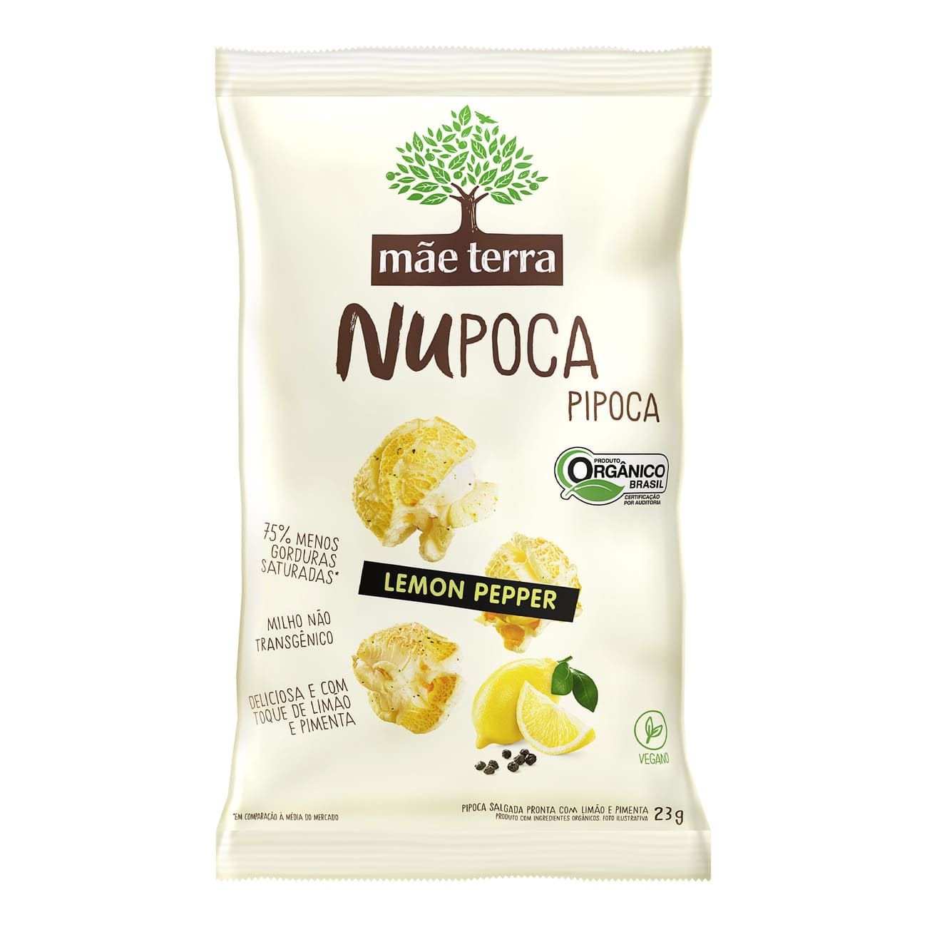 Pipoca Orgânica Mãe Terra Lemon Pepper NuPoca 23g