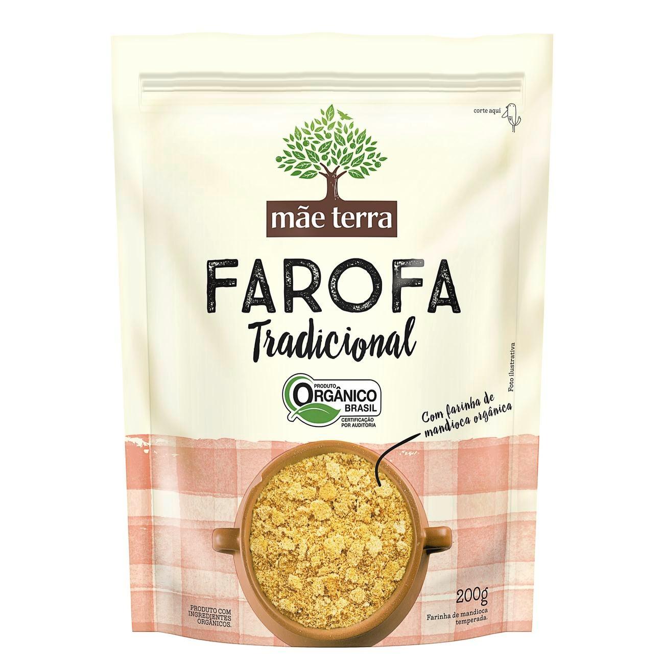 Farofa de Mandioca Orgânica Tradicional Mãe Terra Pacote 200g