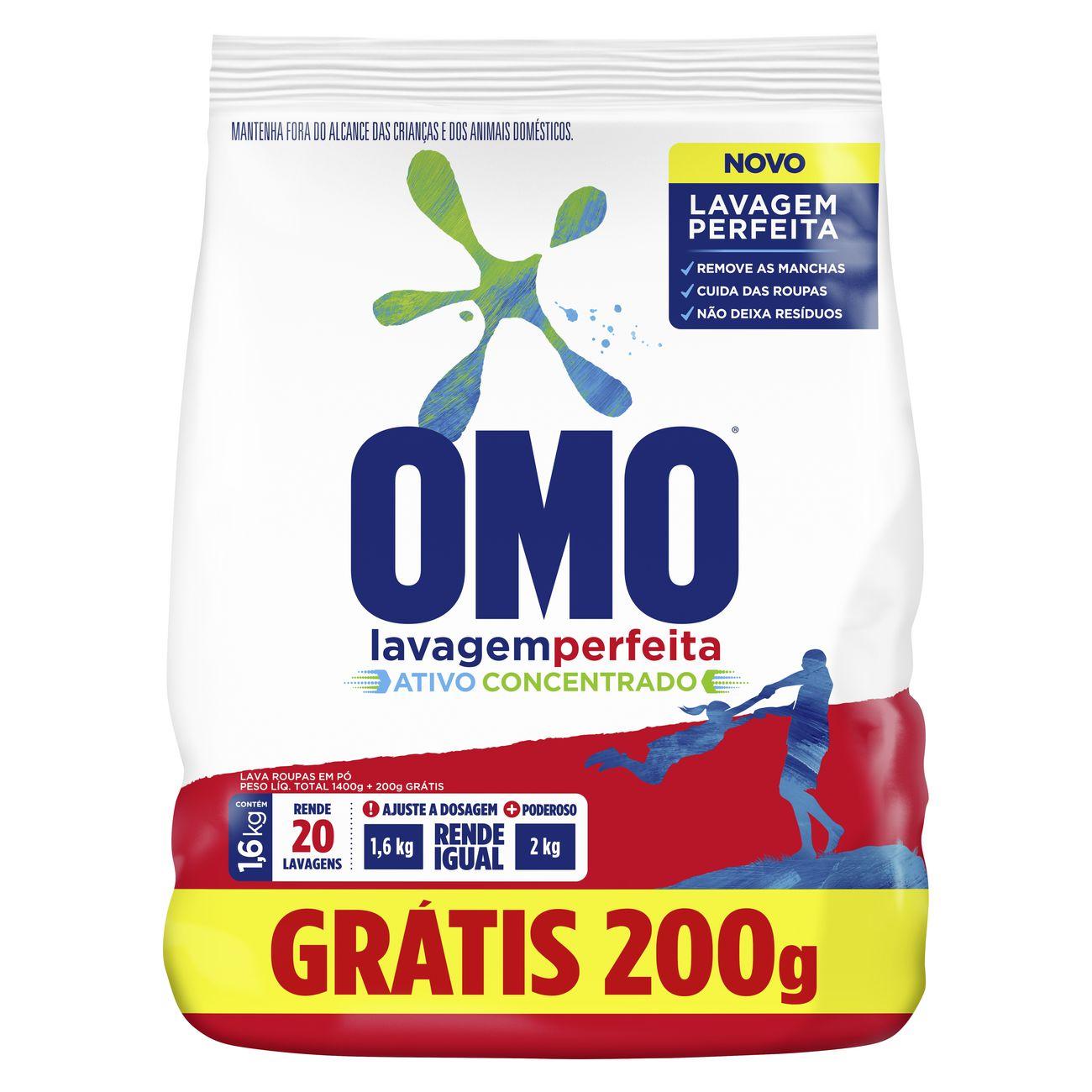 Oferta Detergente em Pó OMO Pague 1,4kg Leve 1,6kg