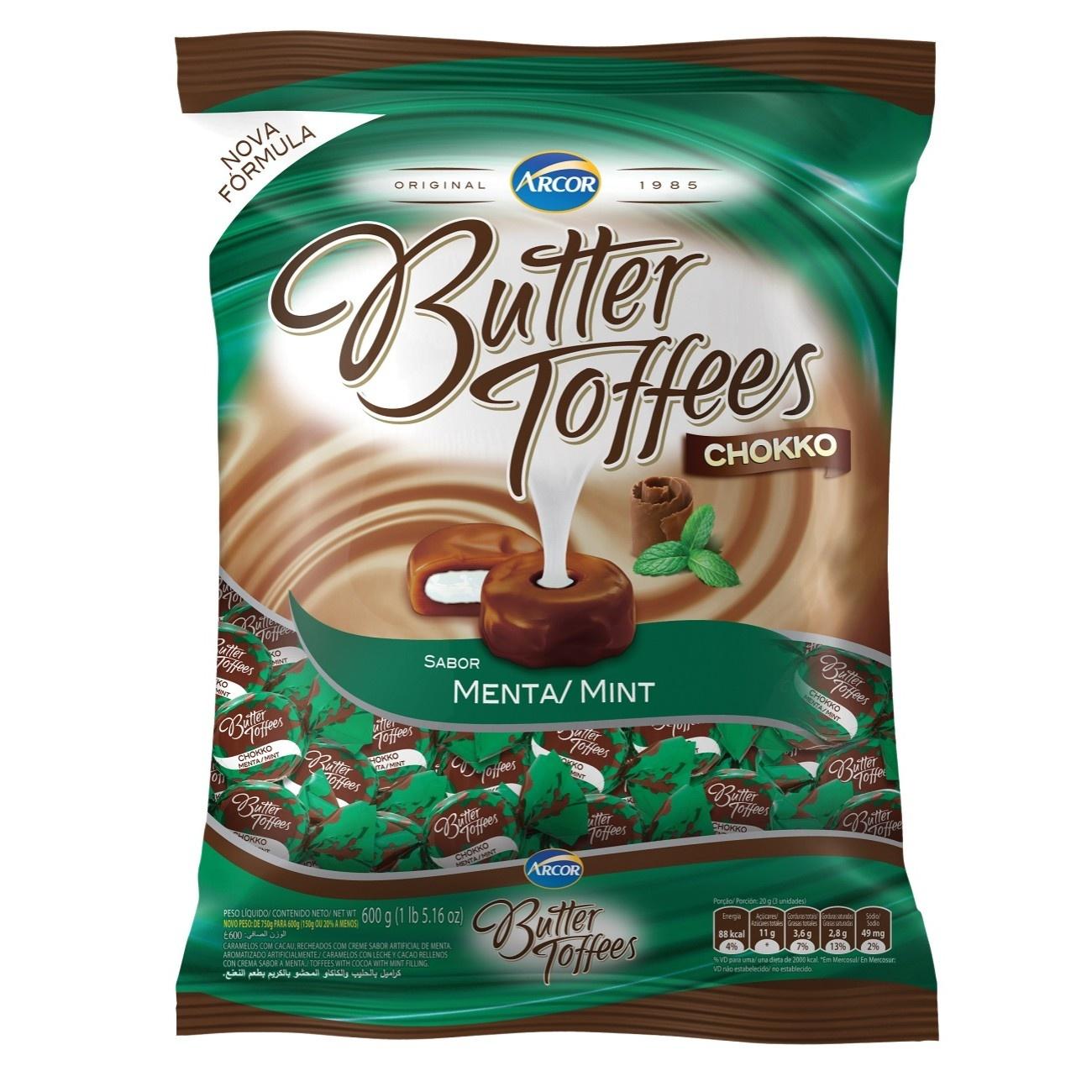 Bolsa de Bala Butter Toffes Chokko Menta 600g (92 un/cada)