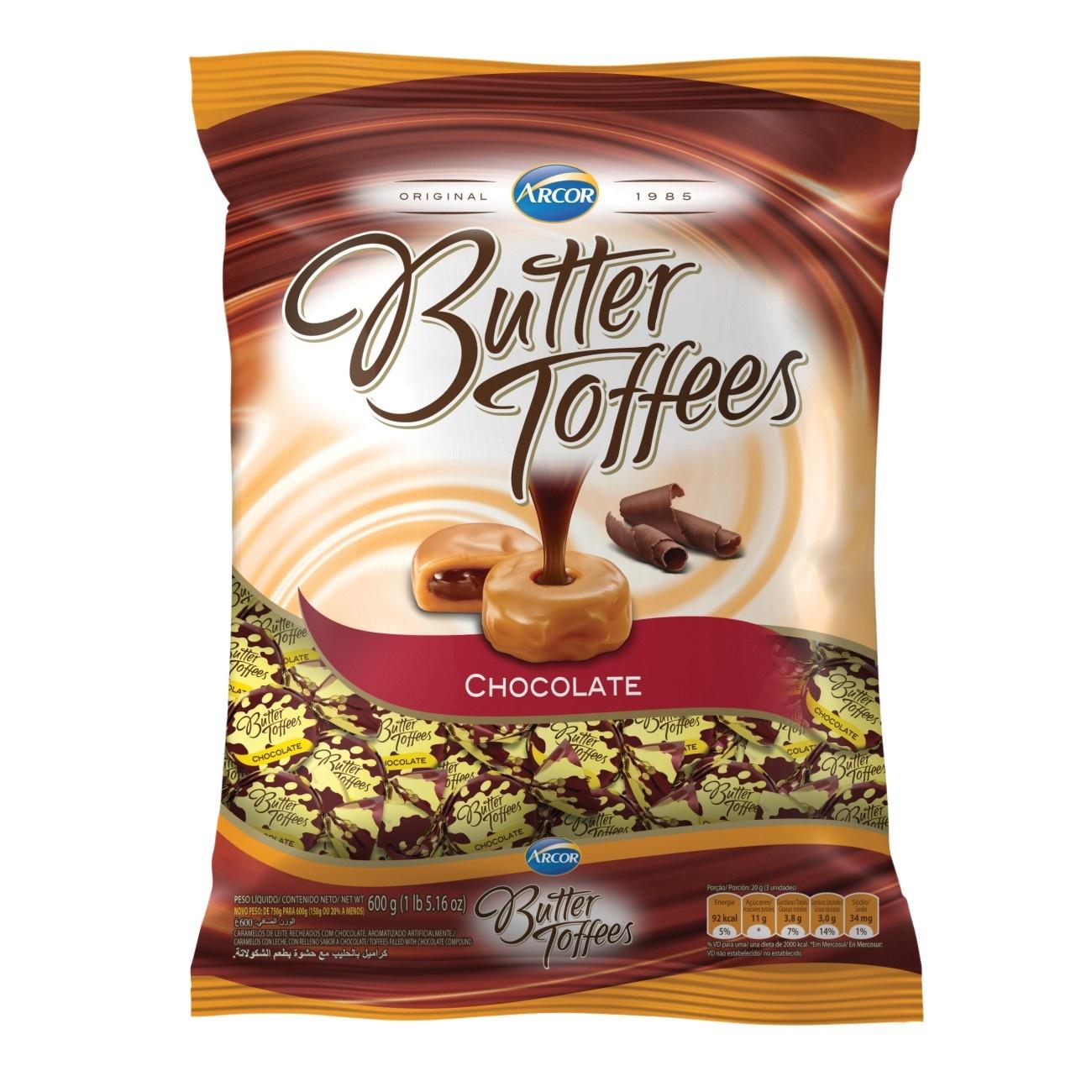 Bolsa de Bala Butter Toffes Chocolate 600g (92 un/cada)