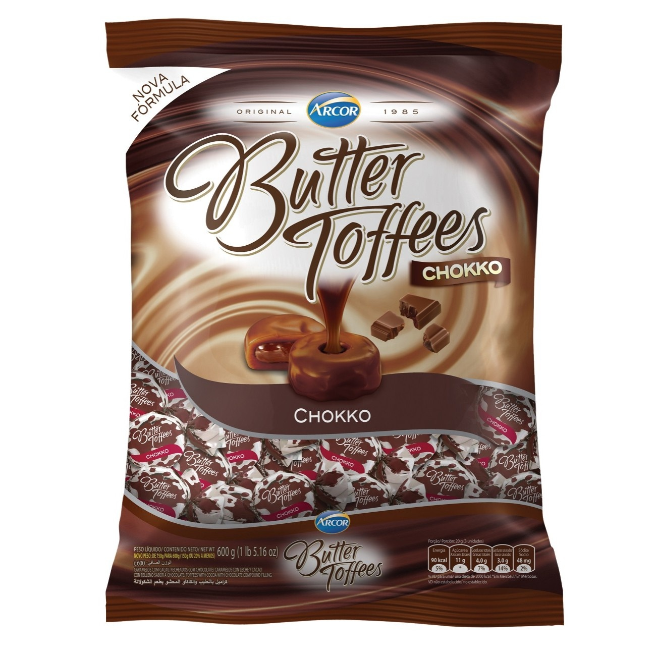 Bolsa de Bala Butter Toffes Chokko Choco 600g (92 un/cada)